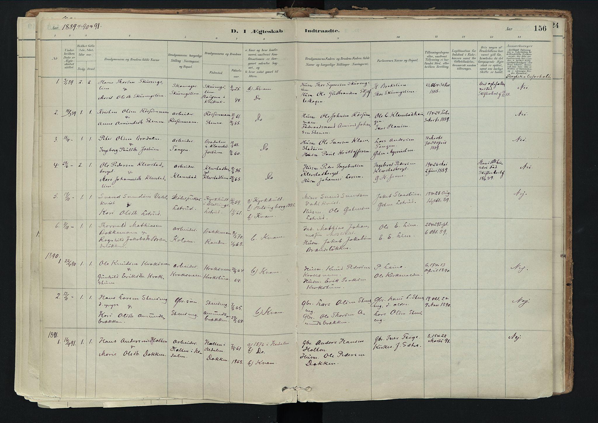 SAH, Nord-Fron prestekontor, Ministerialbok nr. 3, 1884-1914, s. 156