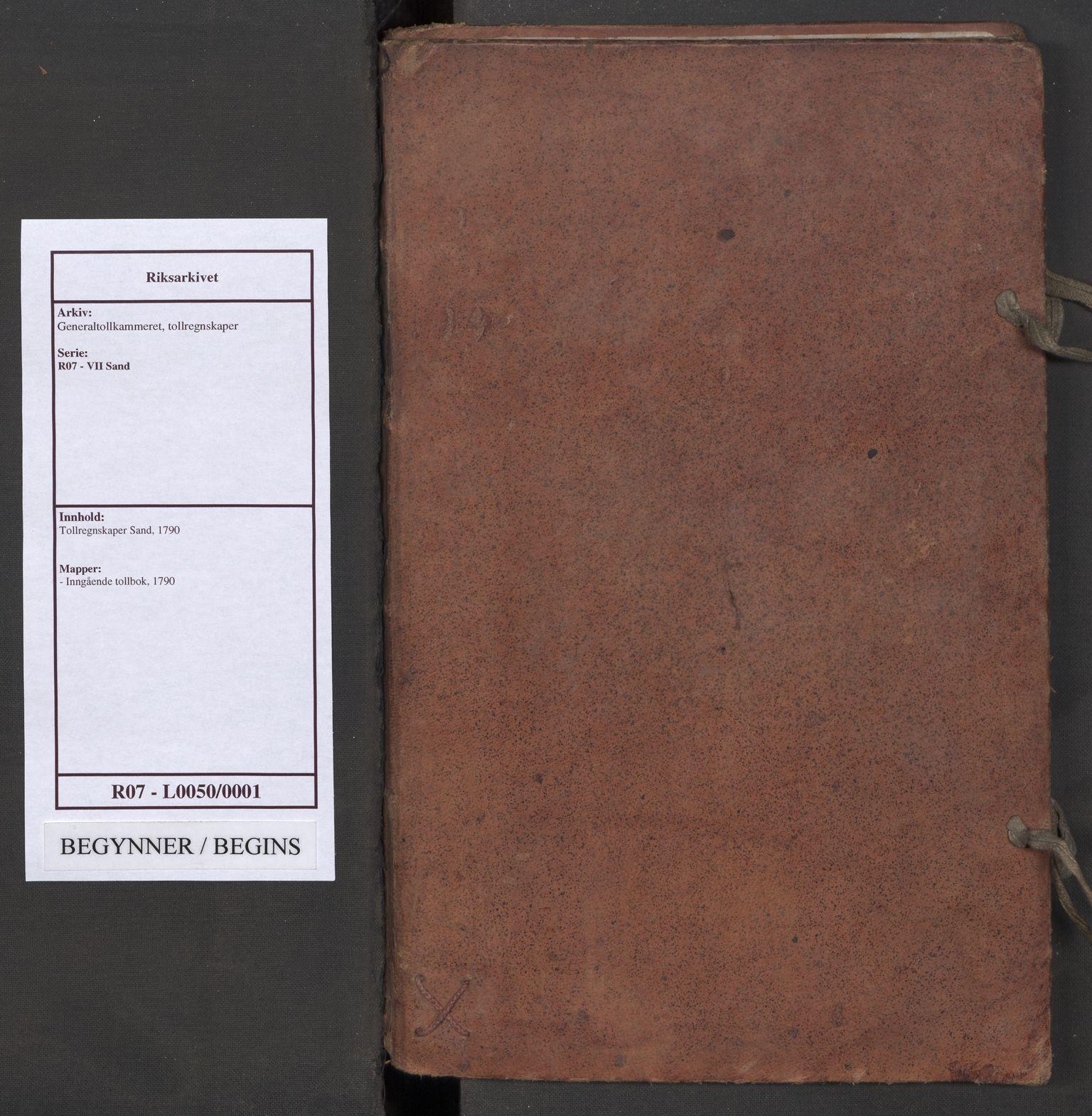 RA, Generaltollkammeret, tollregnskaper, R07/L0050: Tollregnskaper Sand, 1790