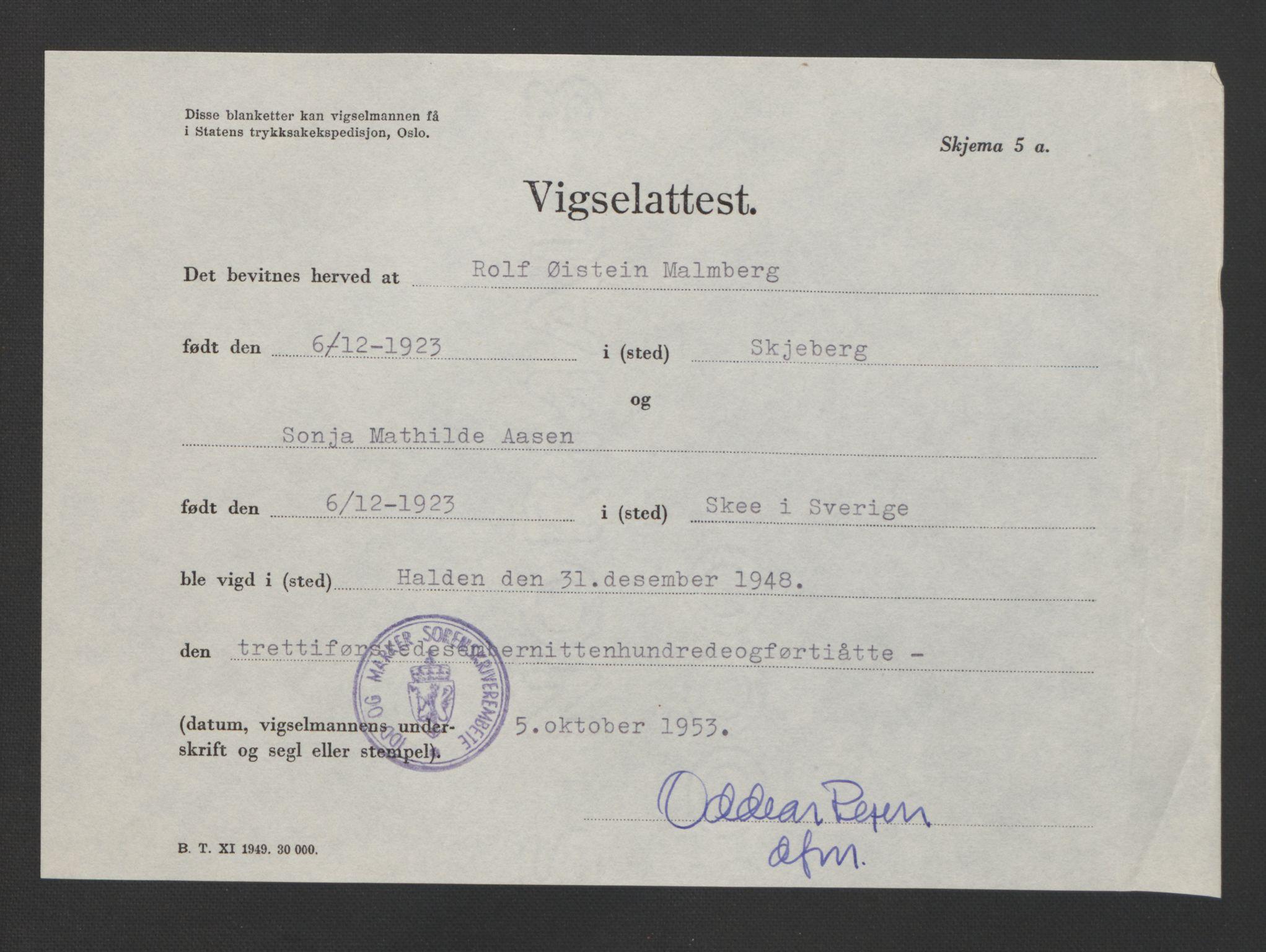 SAO, Idd og Marker sorenskriveri, L/Lc/L0001: Vigselsbøker, 1945-1949, s. upaginert