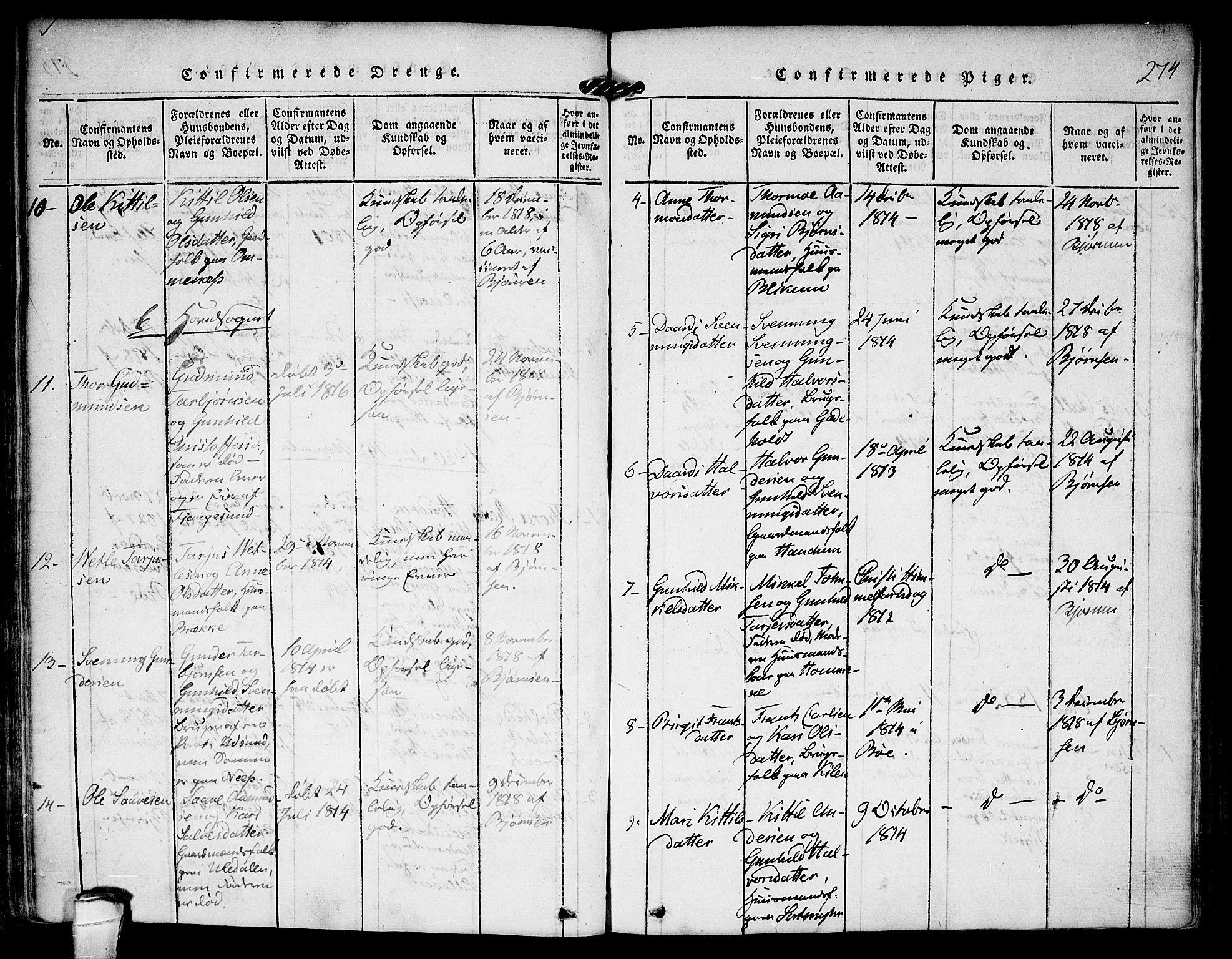 SAKO, Kviteseid kirkebøker, F/Fa/L0005: Ministerialbok nr. I 5, 1815-1836, s. 274