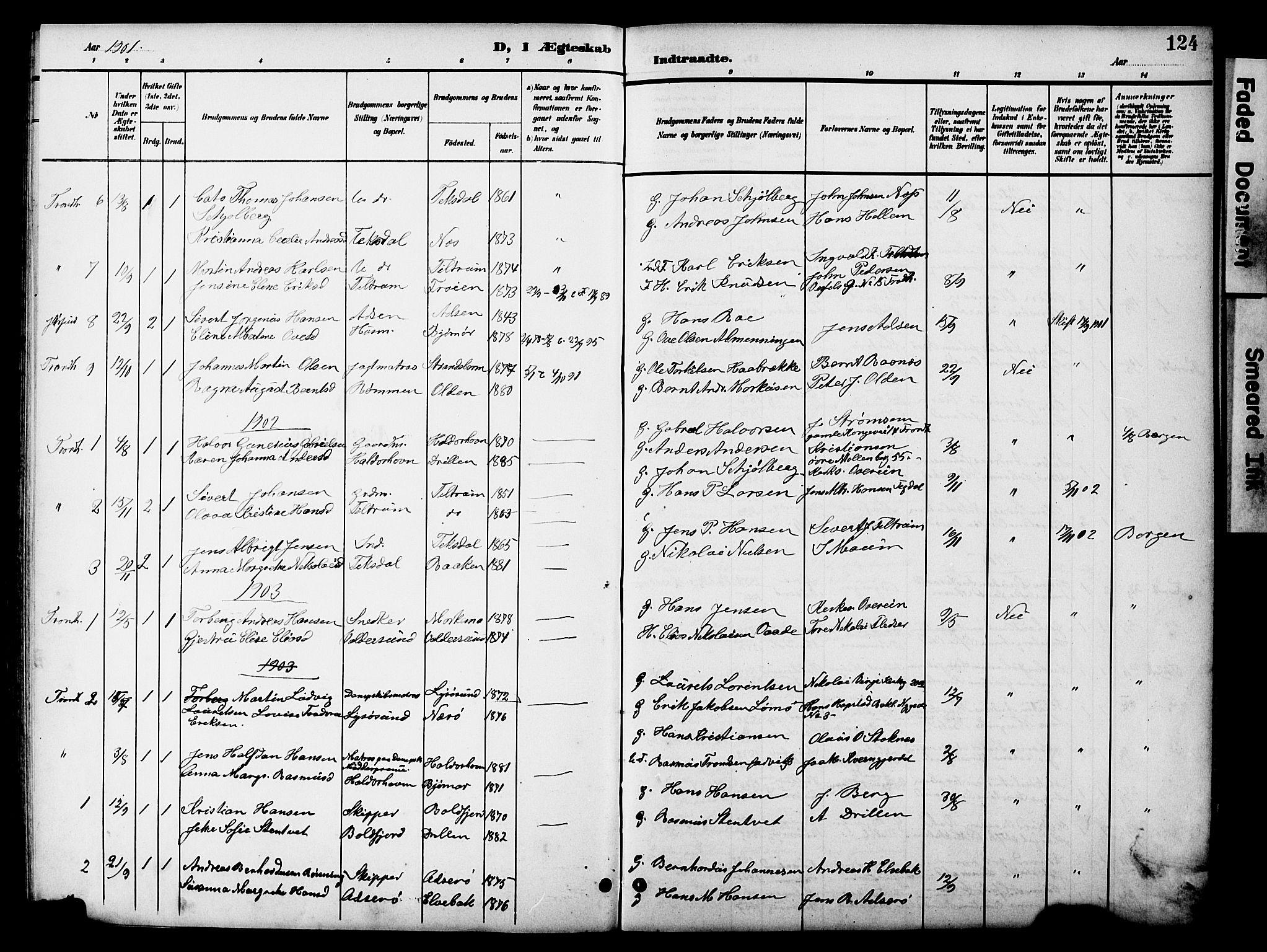 SAT, Ministerialprotokoller, klokkerbøker og fødselsregistre - Sør-Trøndelag, 654/L0666: Klokkerbok nr. 654C02, 1901-1925, s. 124