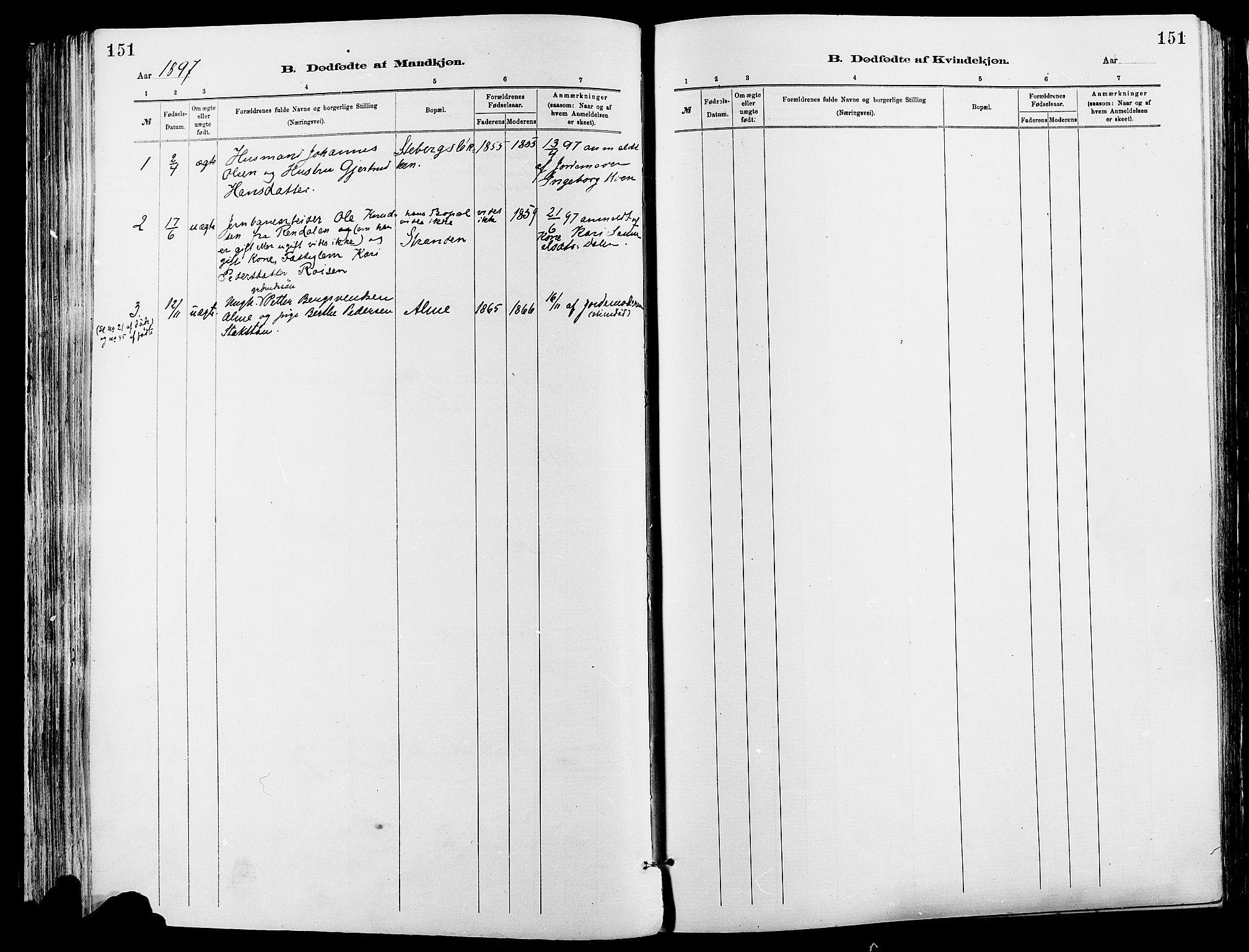 SAH, Sør-Fron prestekontor, H/Ha/Haa/L0003: Ministerialbok nr. 3, 1881-1897, s. 151