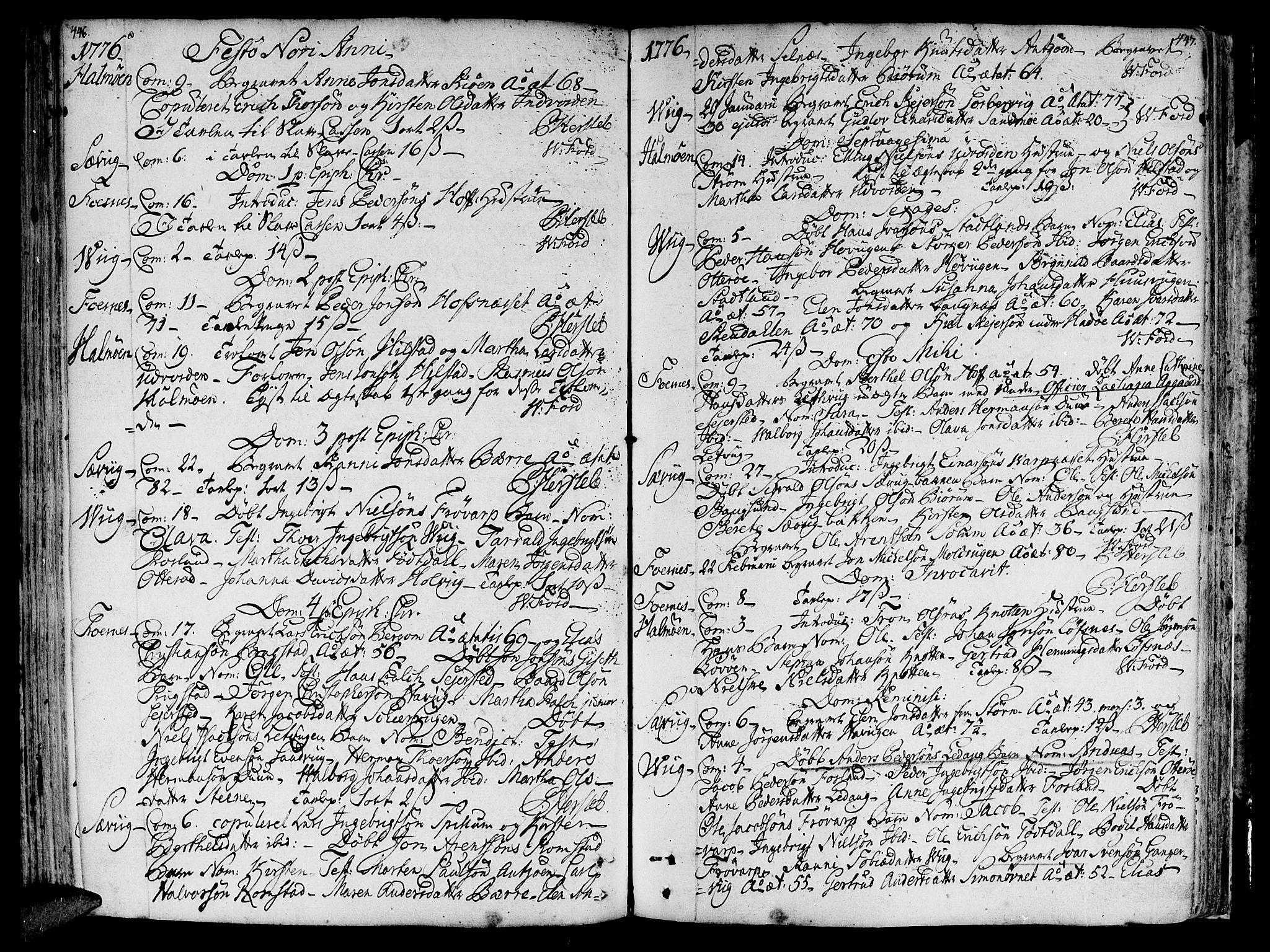 SAT, Ministerialprotokoller, klokkerbøker og fødselsregistre - Nord-Trøndelag, 773/L0607: Ministerialbok nr. 773A01, 1751-1783, s. 446-447