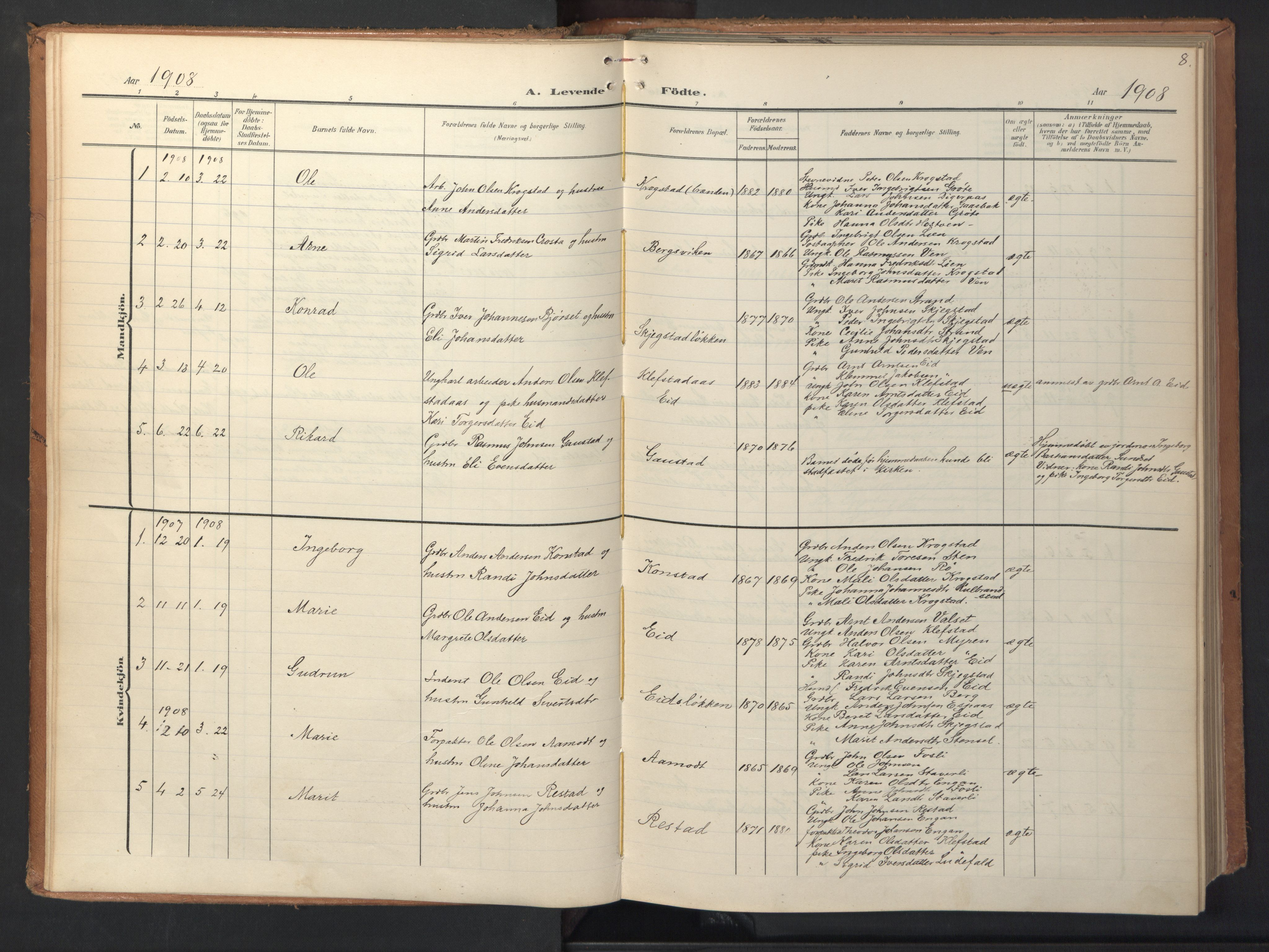 SAT, Ministerialprotokoller, klokkerbøker og fødselsregistre - Sør-Trøndelag, 694/L1128: Ministerialbok nr. 694A02, 1906-1931, s. 8