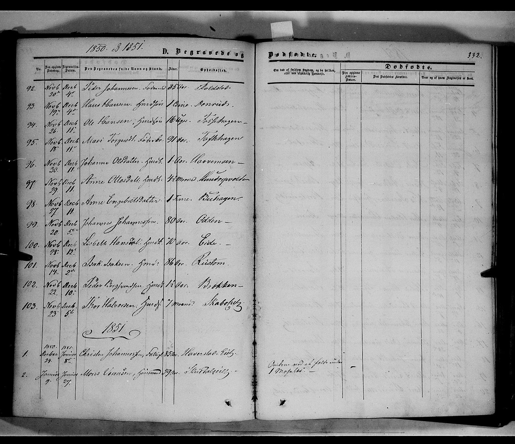 SAH, Sør-Fron prestekontor, H/Ha/Haa/L0001: Ministerialbok nr. 1, 1849-1863, s. 332