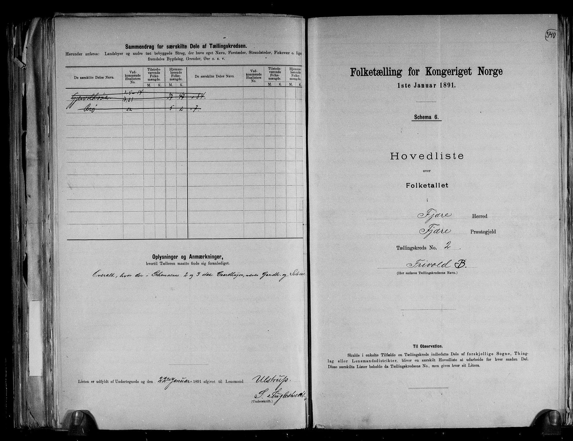 RA, Folketelling 1891 for 0923 Fjære herred, 1891, s. 7