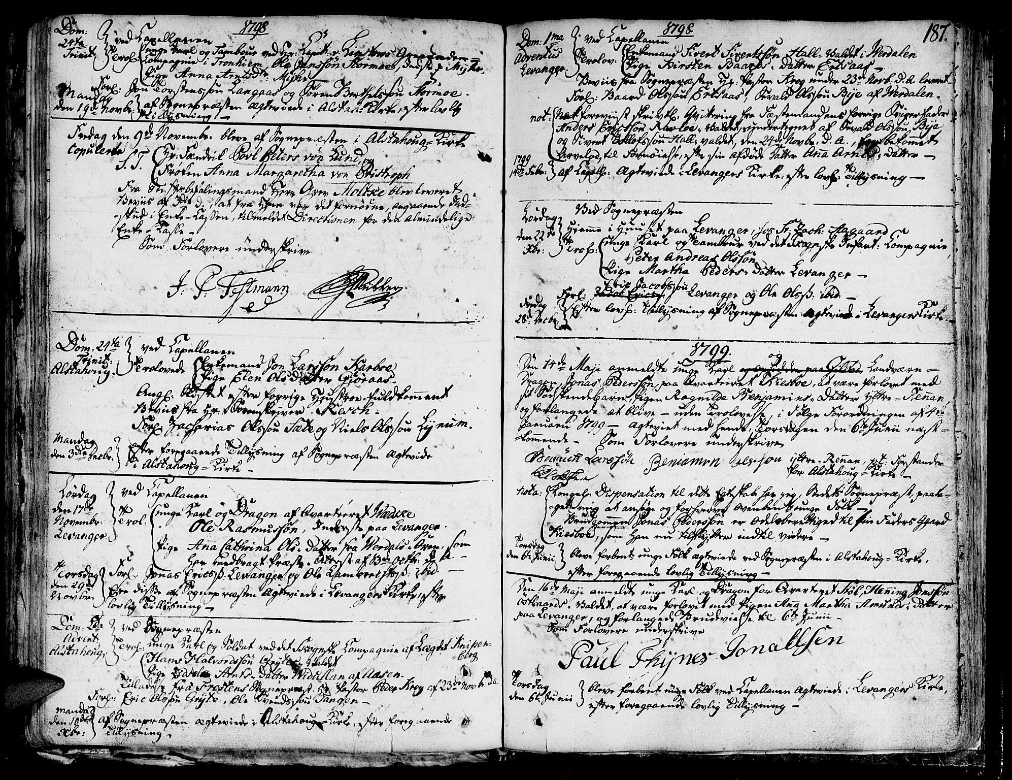 SAT, Ministerialprotokoller, klokkerbøker og fødselsregistre - Nord-Trøndelag, 717/L0142: Ministerialbok nr. 717A02 /1, 1783-1809, s. 187