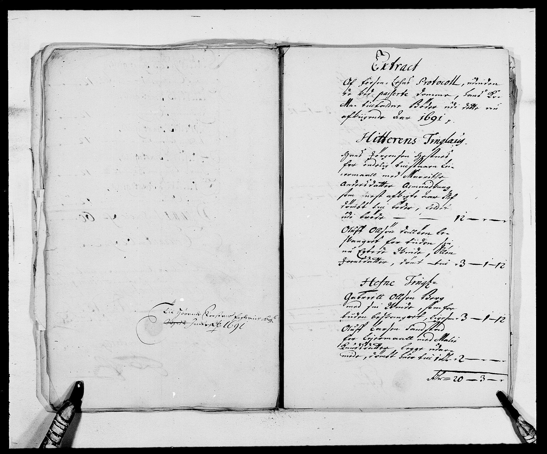 RA, Rentekammeret inntil 1814, Reviderte regnskaper, Fogderegnskap, R57/L3848: Fogderegnskap Fosen, 1690-1691, s. 344