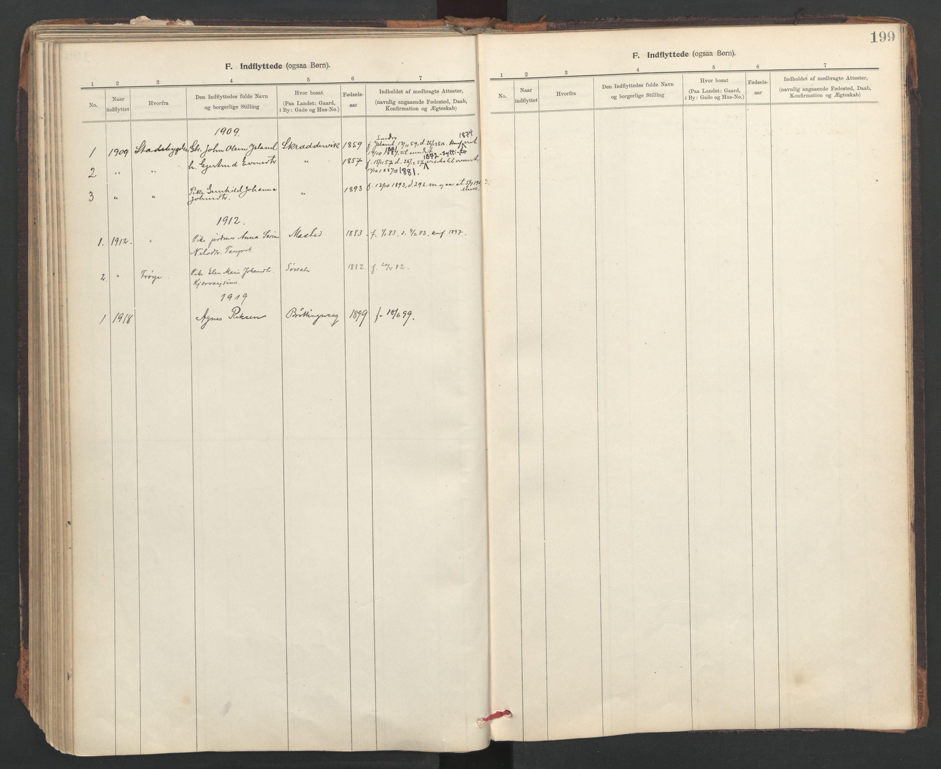 SAT, Ministerialprotokoller, klokkerbøker og fødselsregistre - Sør-Trøndelag, 637/L0559: Ministerialbok nr. 637A02, 1899-1923, s. 199