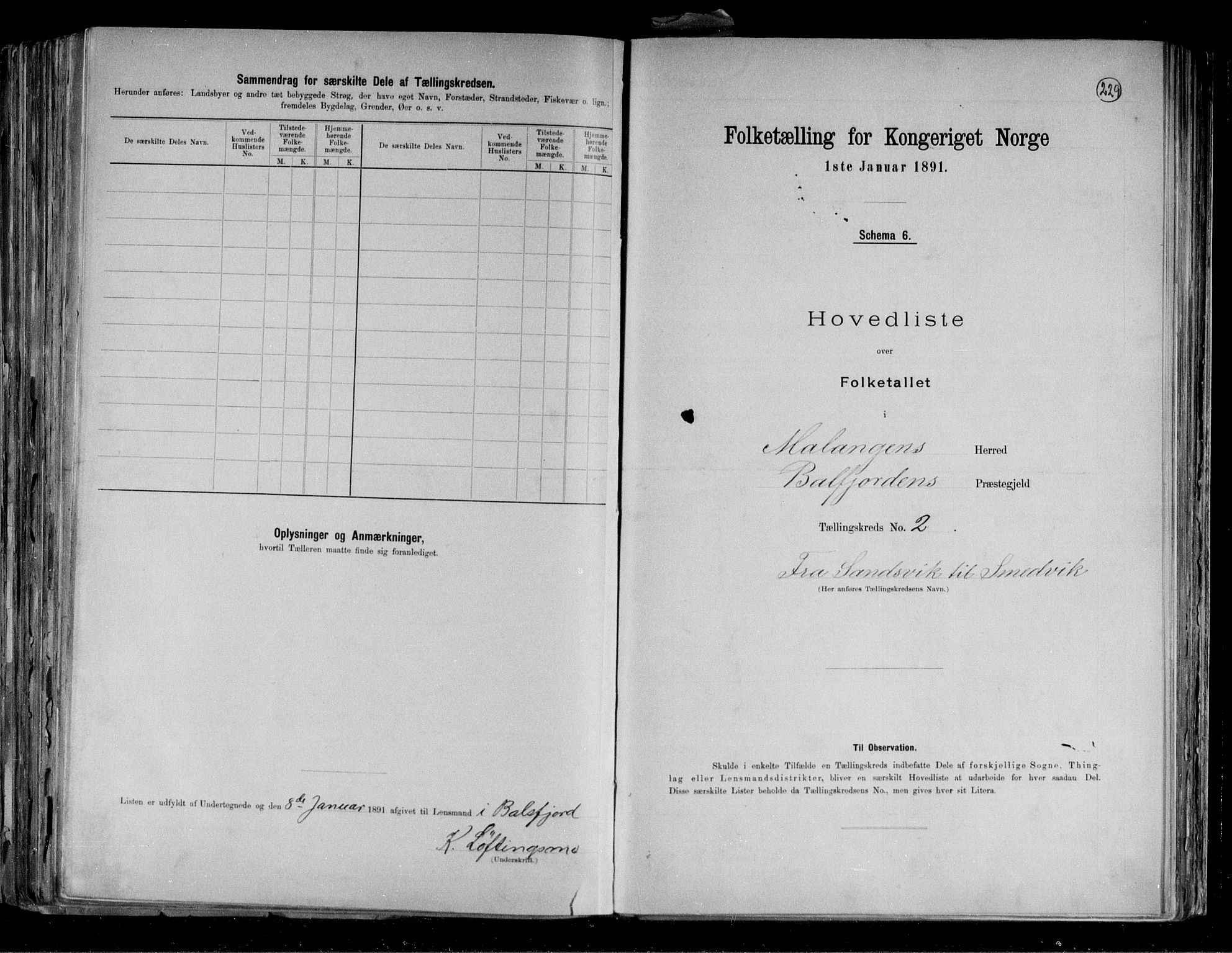 RA, Folketelling 1891 for 1932 Malangen herred, 1891, s. 6