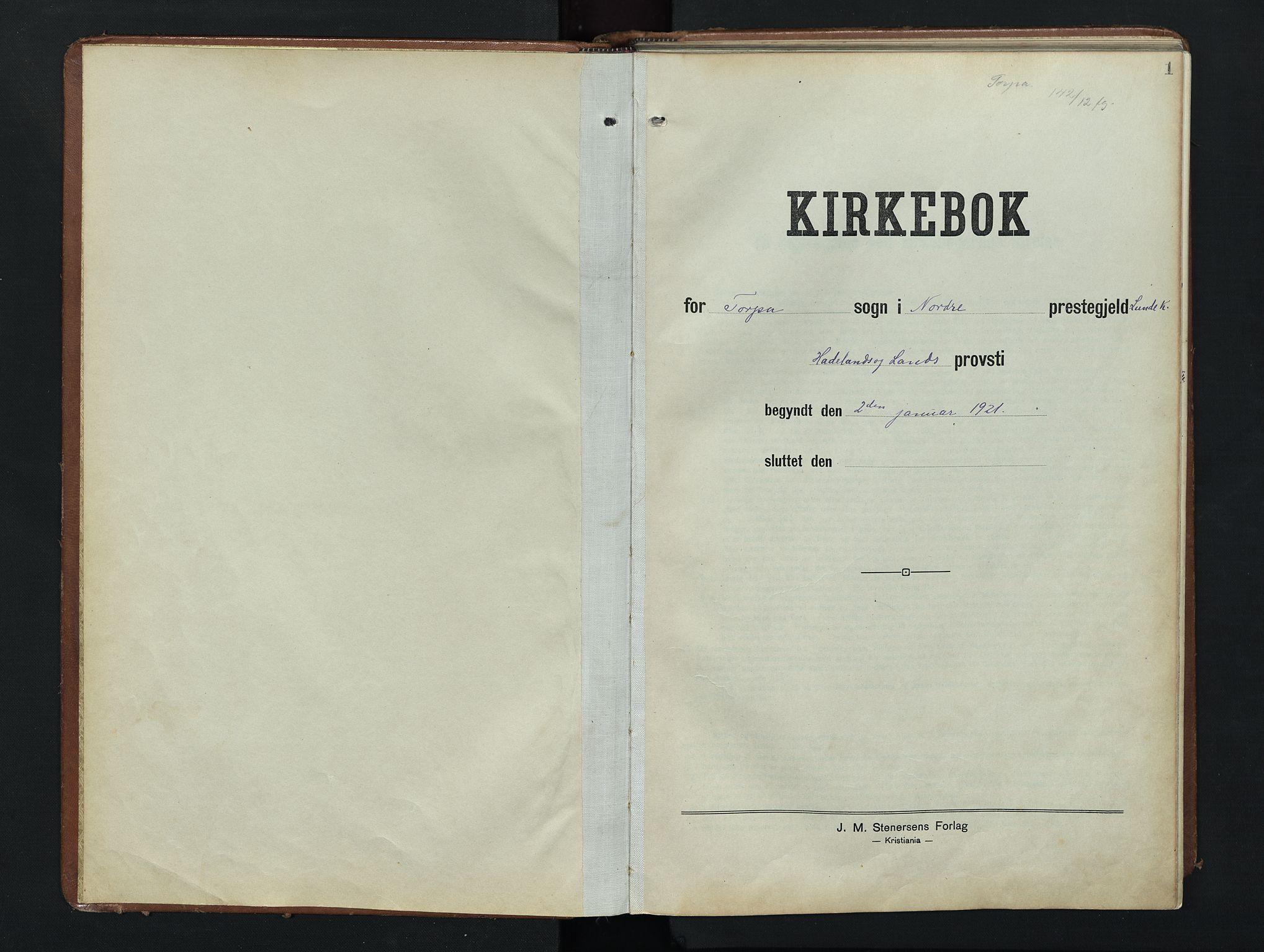 SAH, Nordre Land prestekontor, Klokkerbok nr. 9, 1921-1956, s. 1