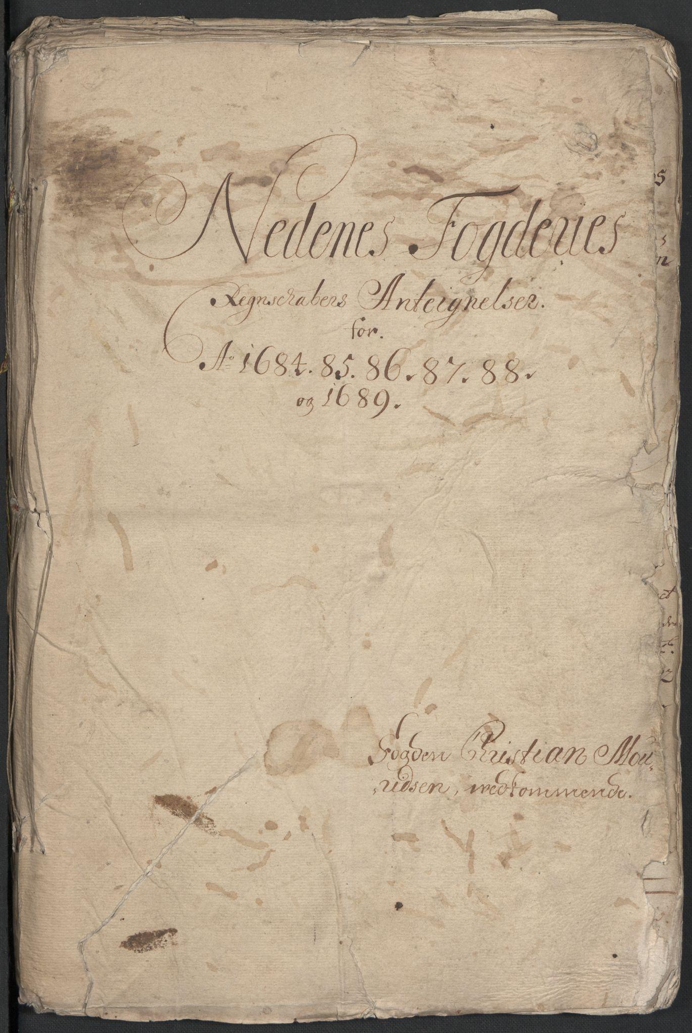 RA, Rentekammeret inntil 1814, Reviderte regnskaper, Fogderegnskap, R39/L2307: Fogderegnskap Nedenes, 1684-1689, s. 161