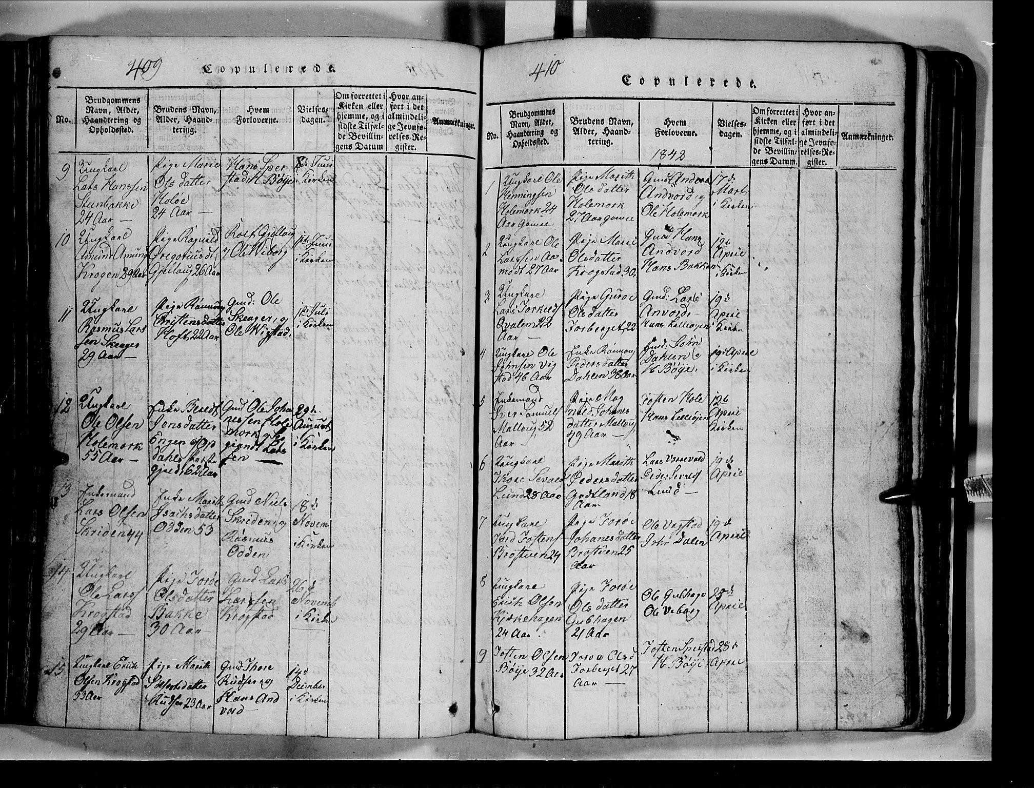 SAH, Lom prestekontor, L/L0003: Klokkerbok nr. 3, 1815-1844, s. 409-410