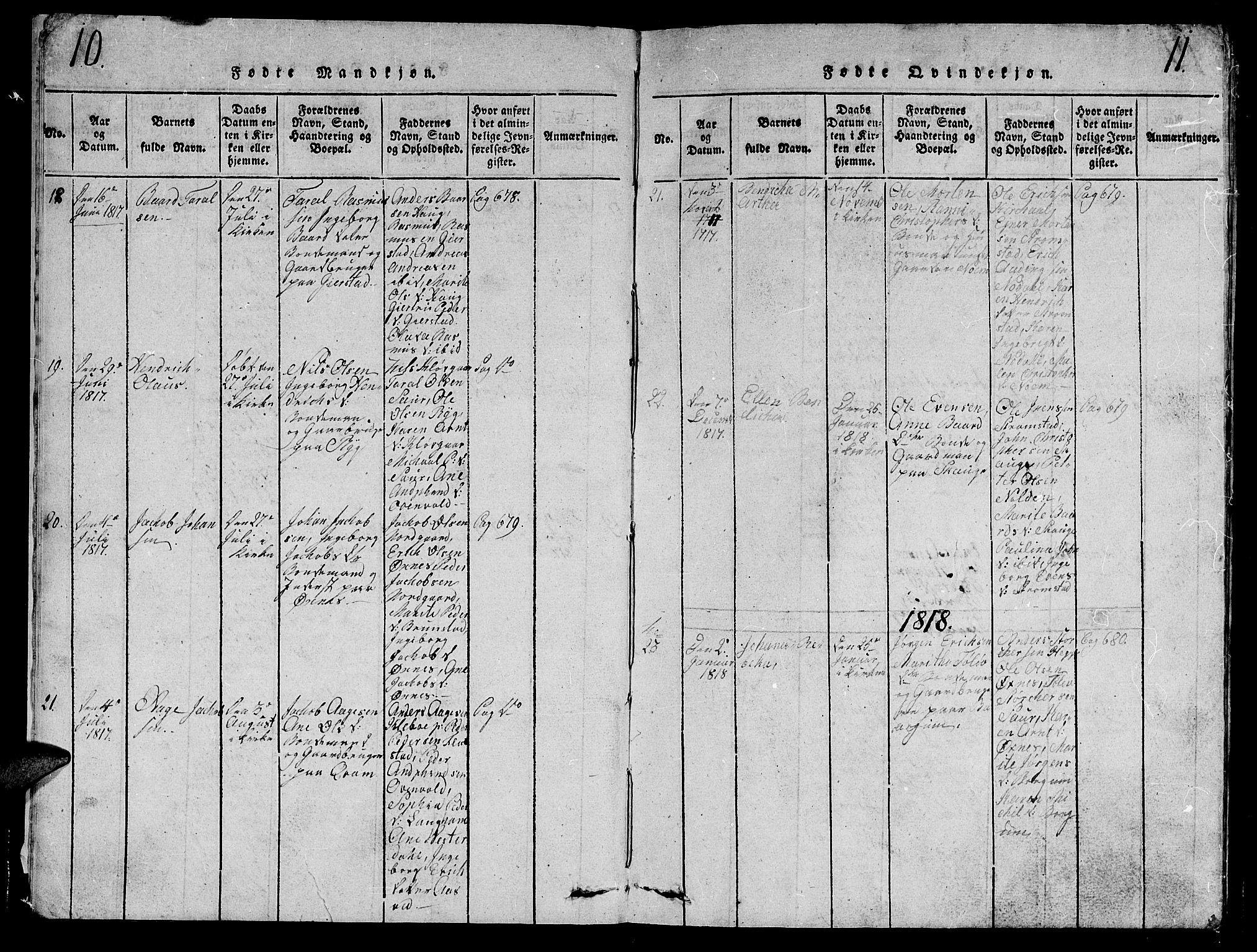 SAT, Ministerialprotokoller, klokkerbøker og fødselsregistre - Nord-Trøndelag, 747/L0459: Klokkerbok nr. 747C01, 1816-1842, s. 10-11