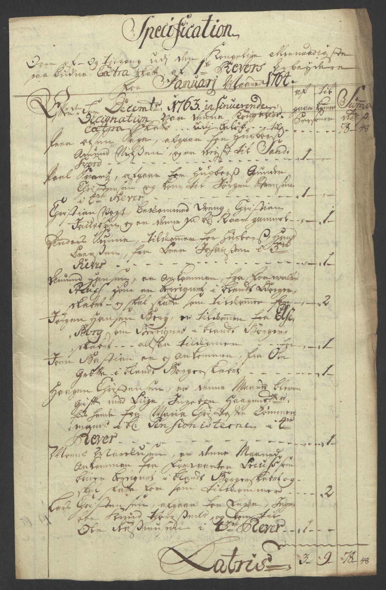 RA, Rentekammeret inntil 1814, Reviderte regnskaper, Bergverksregnskaper, R/Rc/Rca/L0843: Ekstraskatt, 1762-1765, s. 604