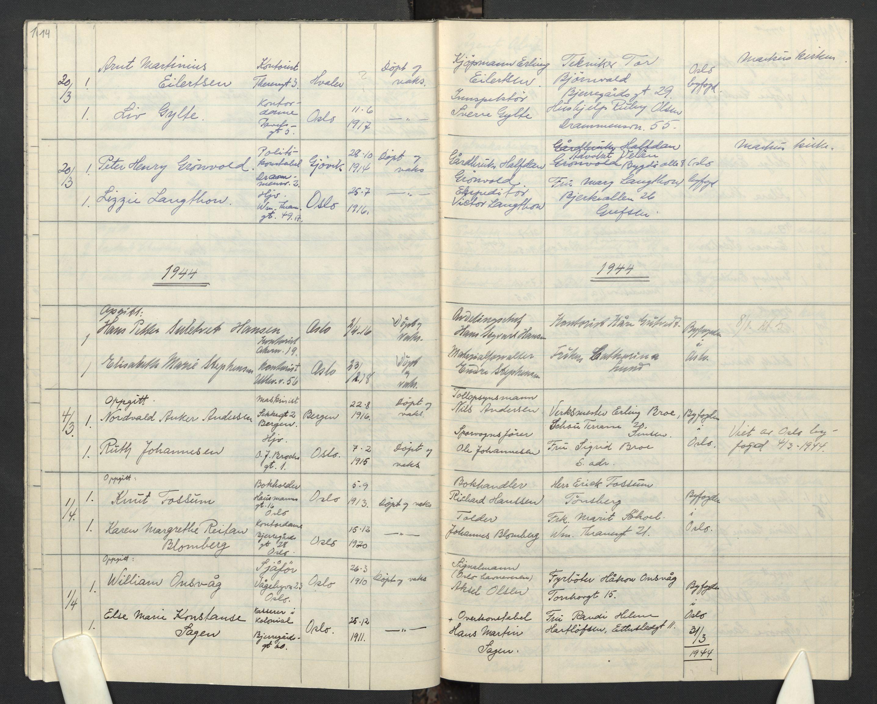 SAO, Gamle Aker prestekontor Kirkebøker, F/L0023: Ministerialbok nr. 23, 1942-1946, s. 14