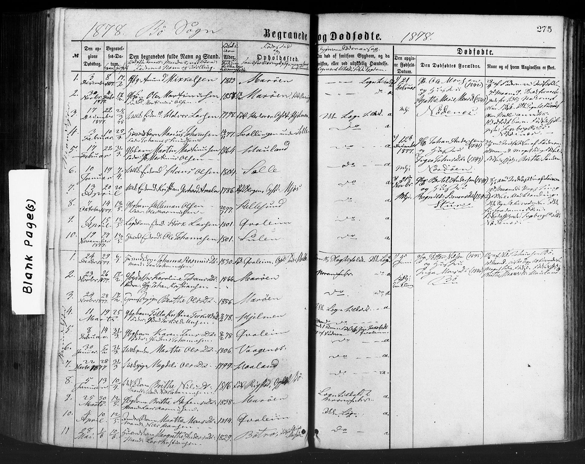 SAB, Manger sokneprestembete, H/Haa: Ministerialbok nr. A 8, 1871-1880, s. 275