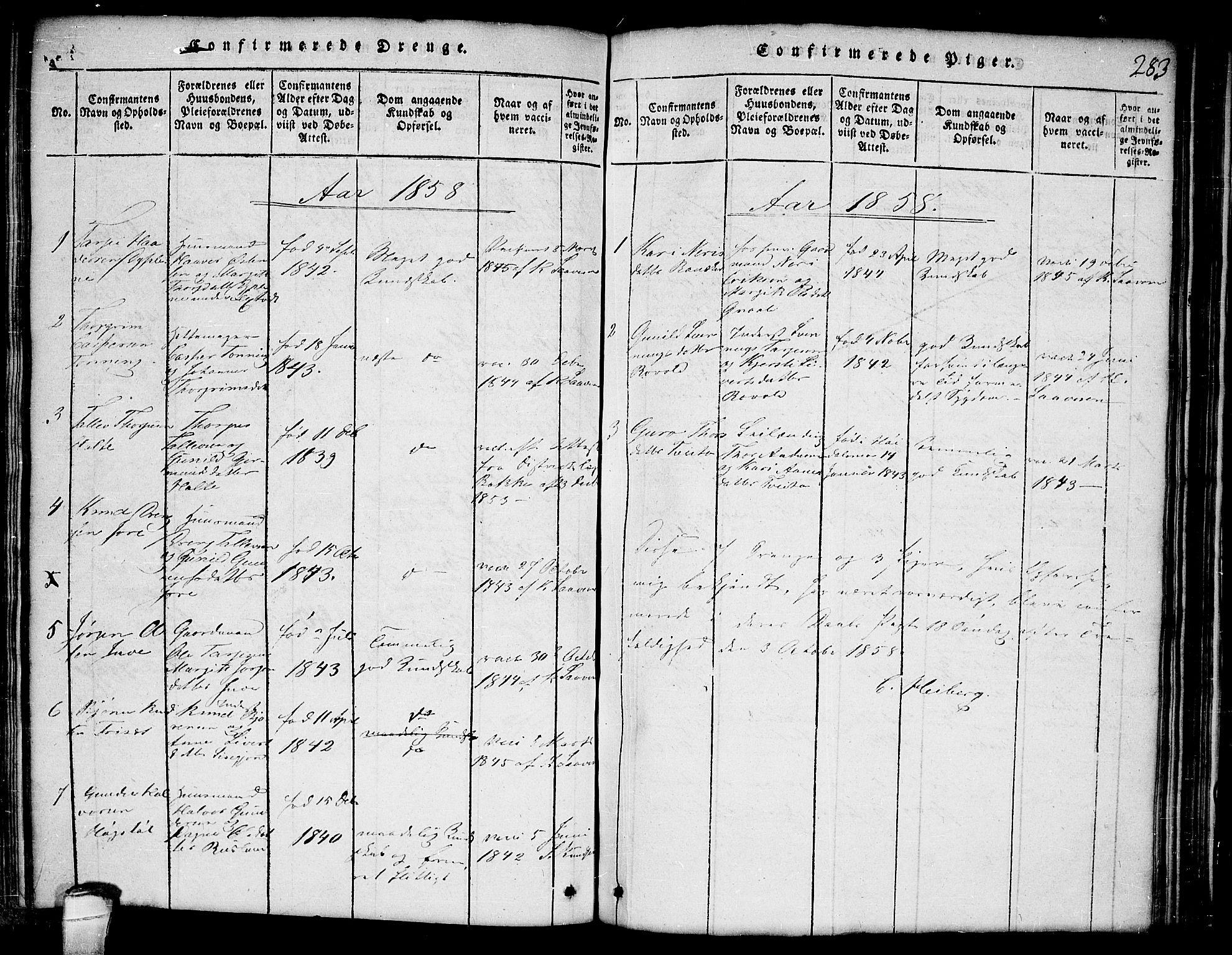 SAKO, Lårdal kirkebøker, G/Ga/L0001: Klokkerbok nr. I 1, 1815-1861, s. 283