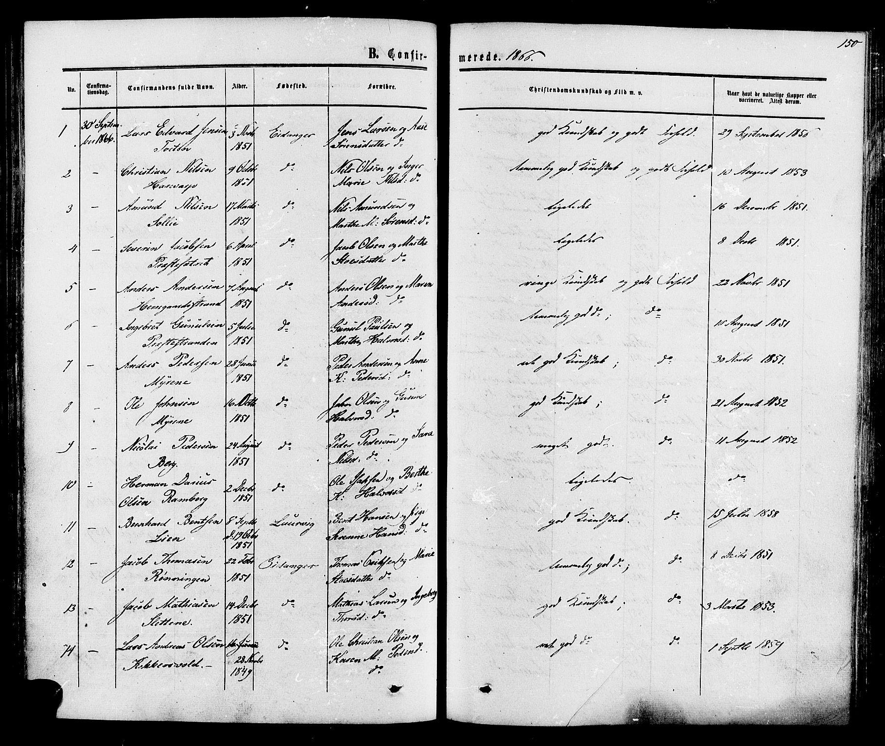 SAKO, Eidanger kirkebøker, F/Fa/L0010: Ministerialbok nr. 10, 1859-1874, s. 150