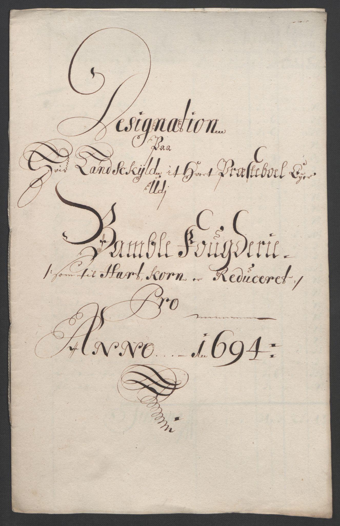 RA, Rentekammeret inntil 1814, Reviderte regnskaper, Fogderegnskap, R36/L2092: Fogderegnskap Øvre og Nedre Telemark og Bamble, 1694, s. 195