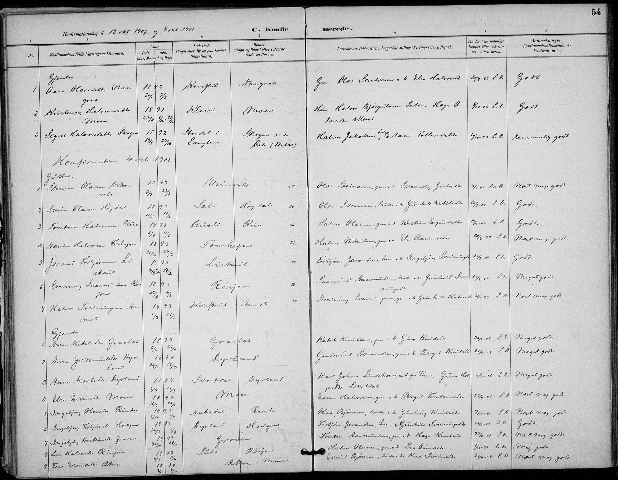 SAKO, Seljord kirkebøker, F/Fc/L0002: Ministerialbok nr. III 2, 1887-1920, s. 54