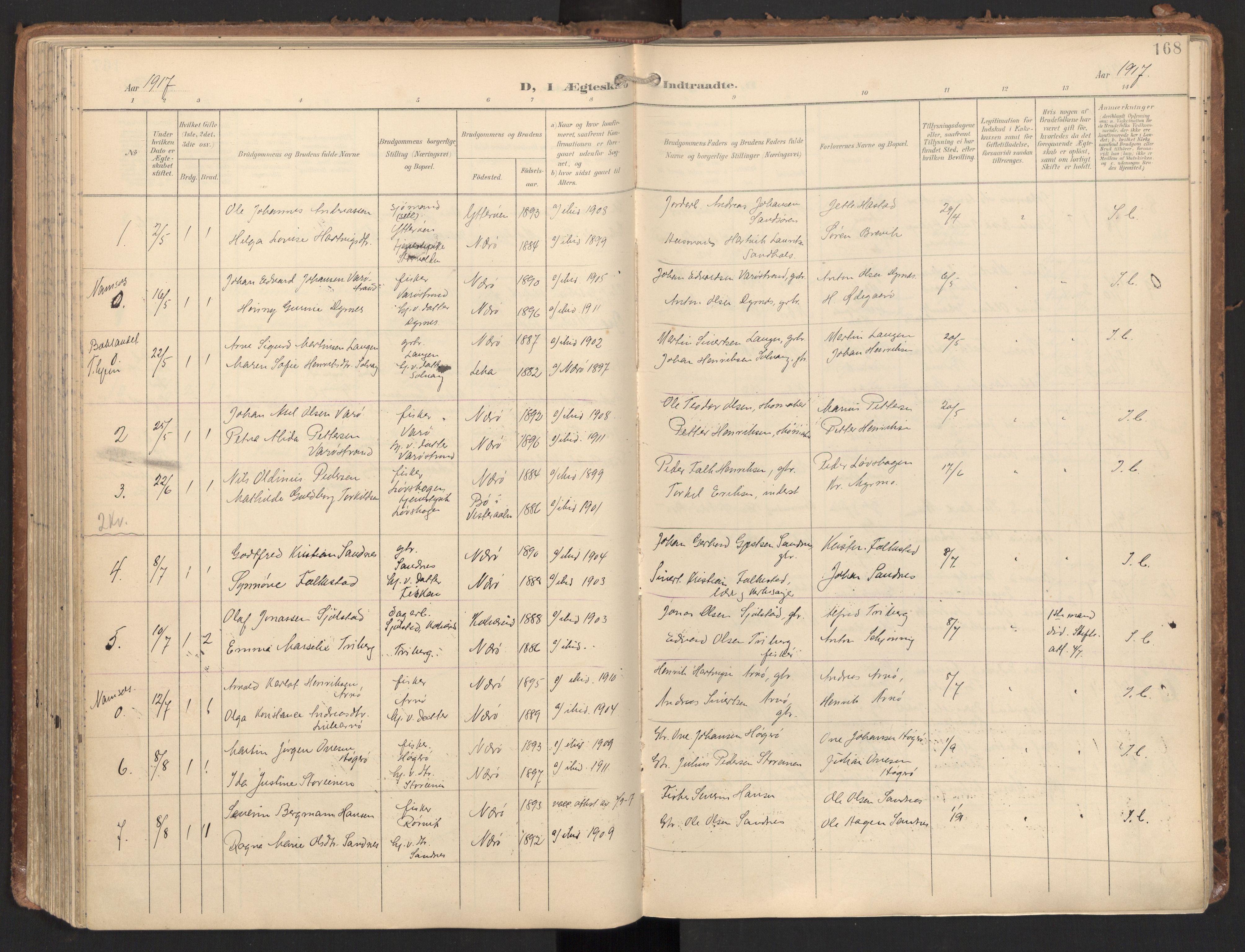 SAT, Ministerialprotokoller, klokkerbøker og fødselsregistre - Nord-Trøndelag, 784/L0677: Ministerialbok nr. 784A12, 1900-1920, s. 168