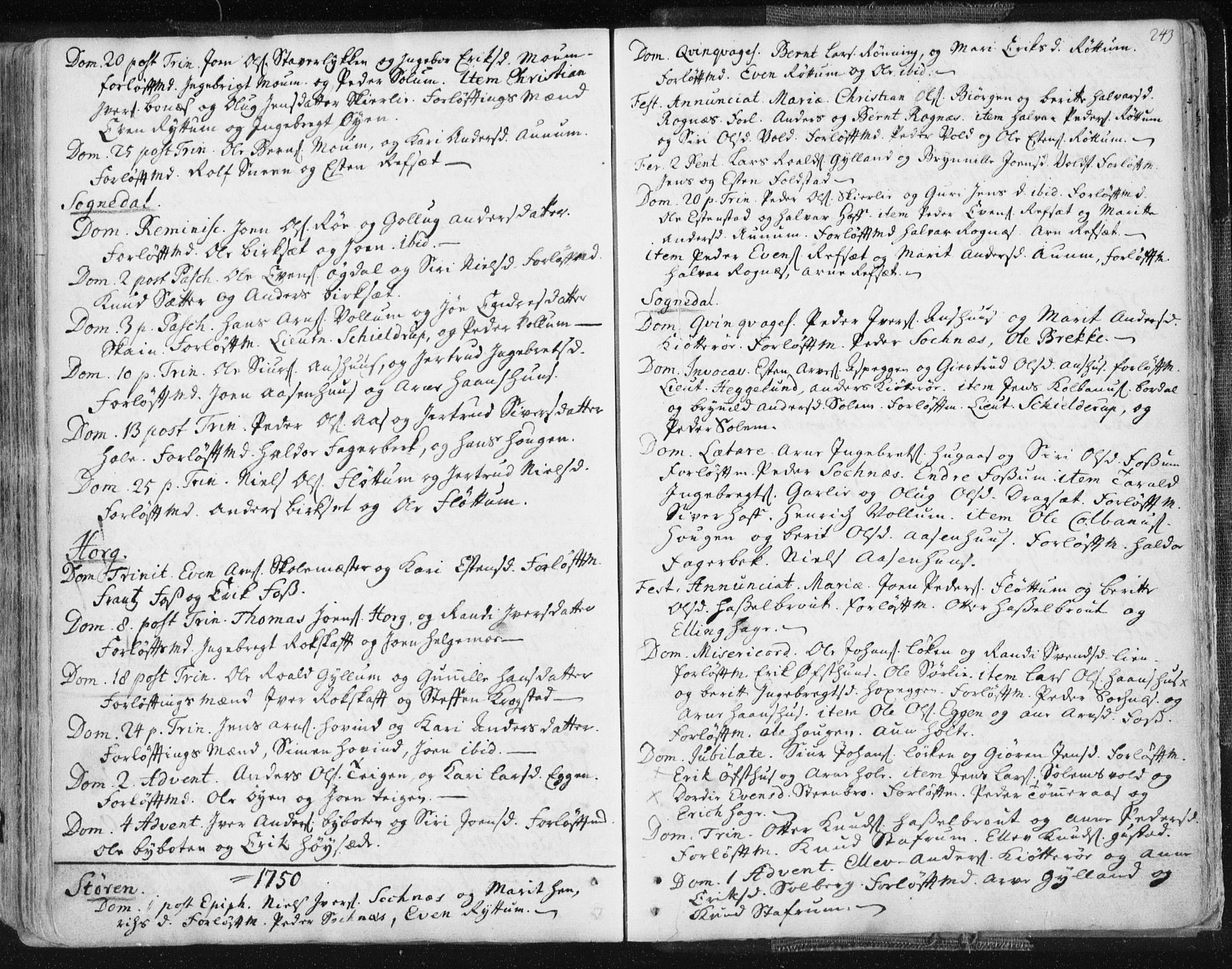 SAT, Ministerialprotokoller, klokkerbøker og fødselsregistre - Sør-Trøndelag, 687/L0991: Ministerialbok nr. 687A02, 1747-1790, s. 243