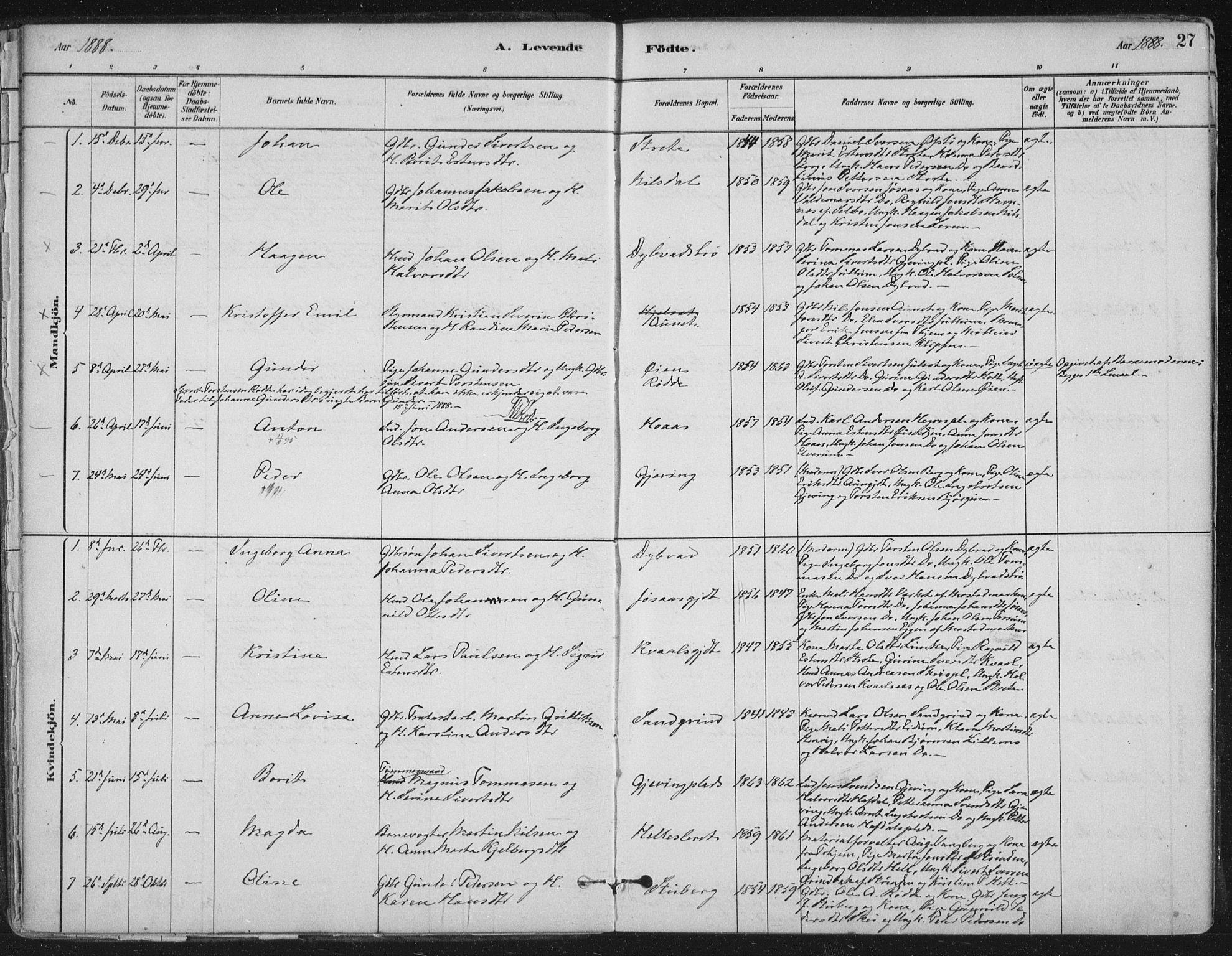 SAT, Ministerialprotokoller, klokkerbøker og fødselsregistre - Nord-Trøndelag, 710/L0095: Ministerialbok nr. 710A01, 1880-1914, s. 27