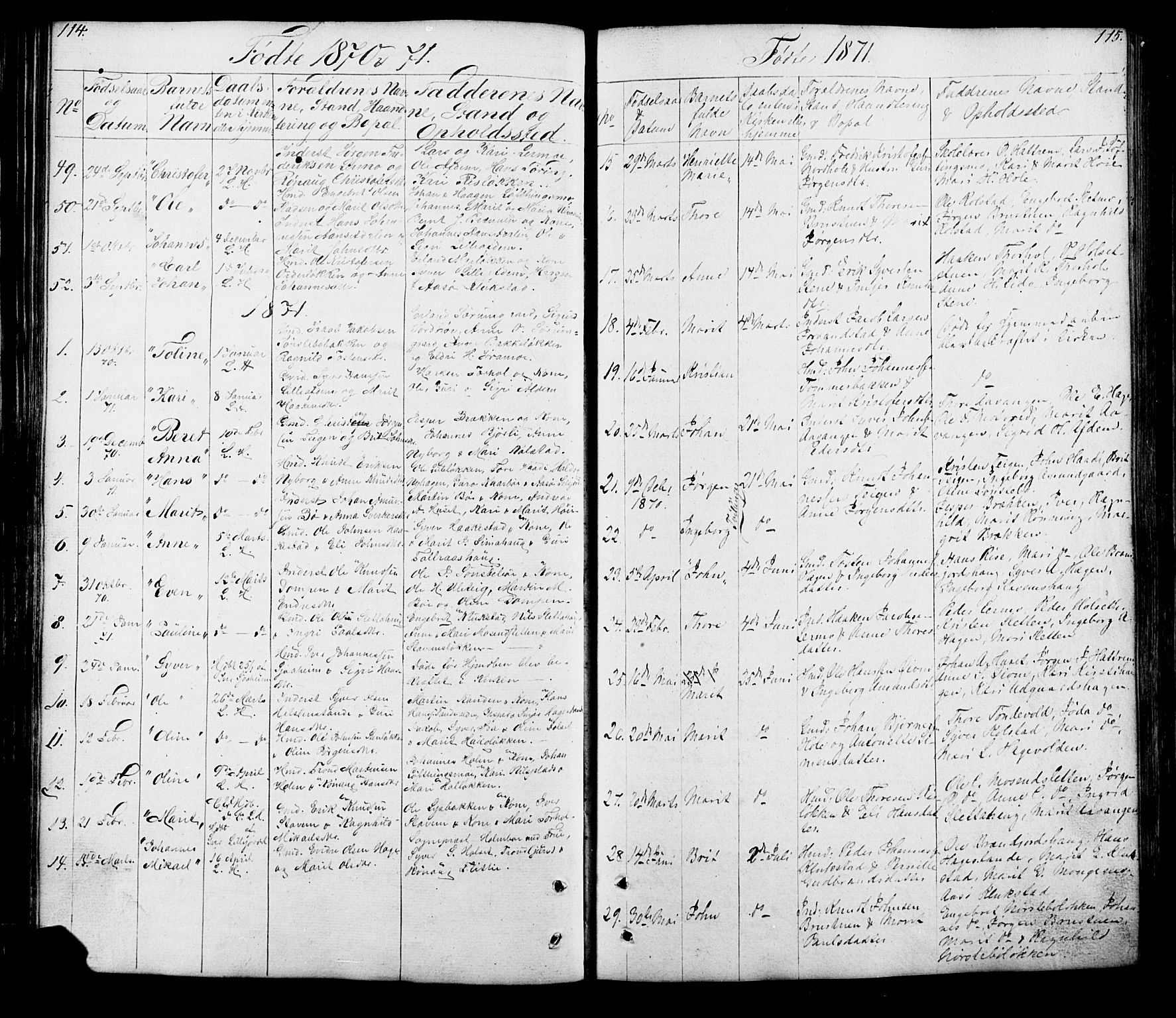 SAH, Lesja prestekontor, Klokkerbok nr. 5, 1850-1894, s. 114-115