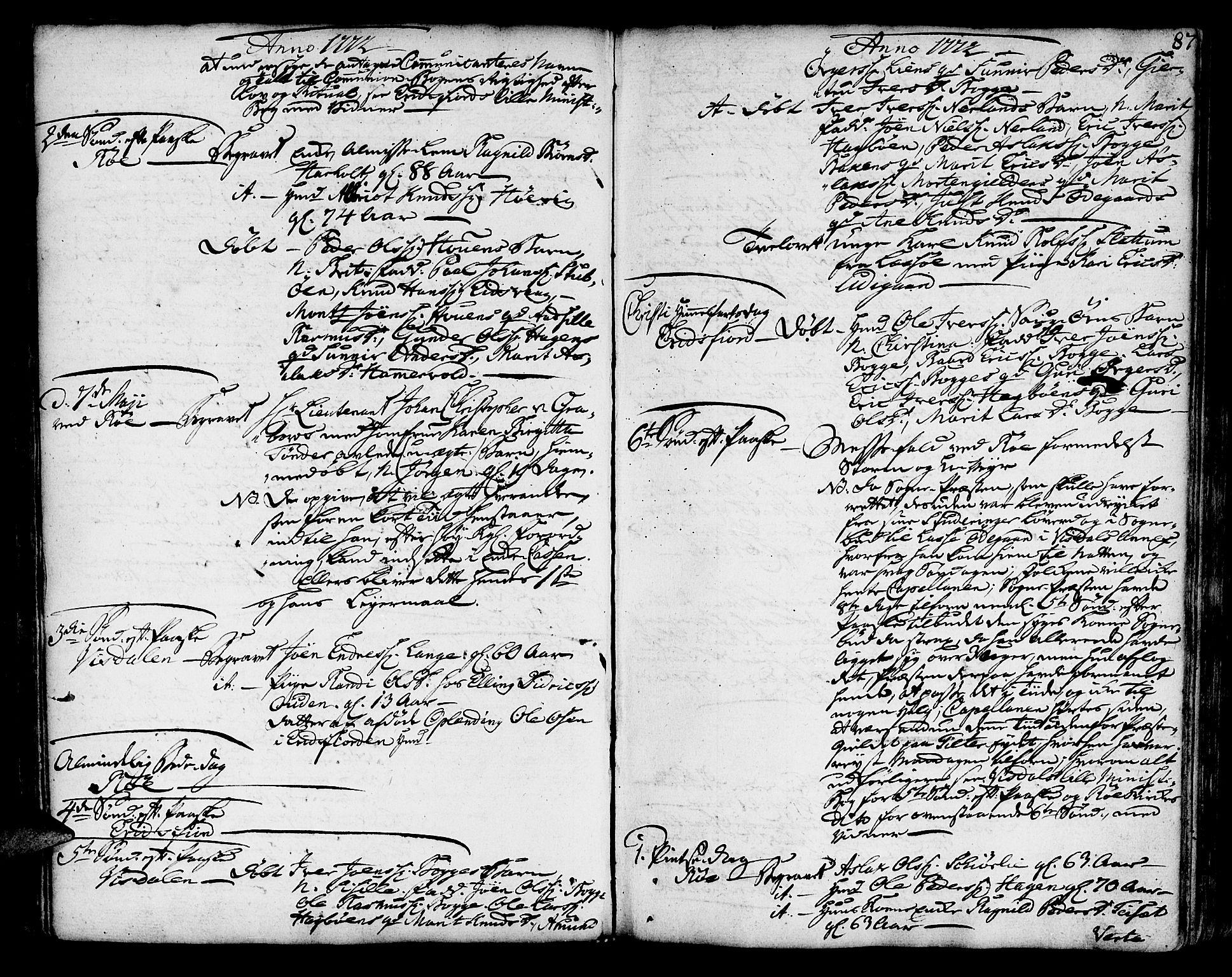 SAT, Ministerialprotokoller, klokkerbøker og fødselsregistre - Møre og Romsdal, 551/L0621: Ministerialbok nr. 551A01, 1757-1803, s. 87