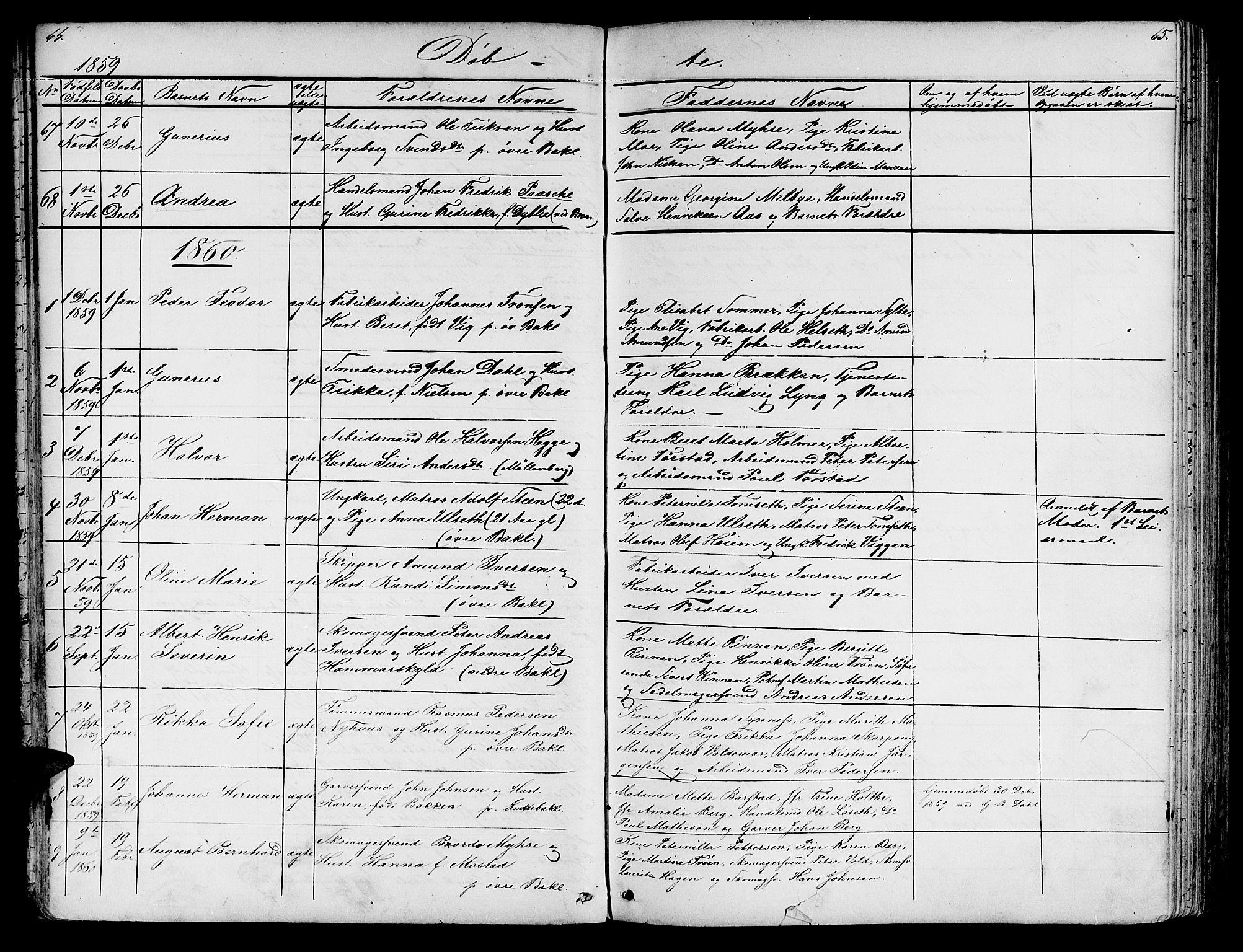 SAT, Ministerialprotokoller, klokkerbøker og fødselsregistre - Sør-Trøndelag, 604/L0219: Klokkerbok nr. 604C02, 1851-1869, s. 64-65