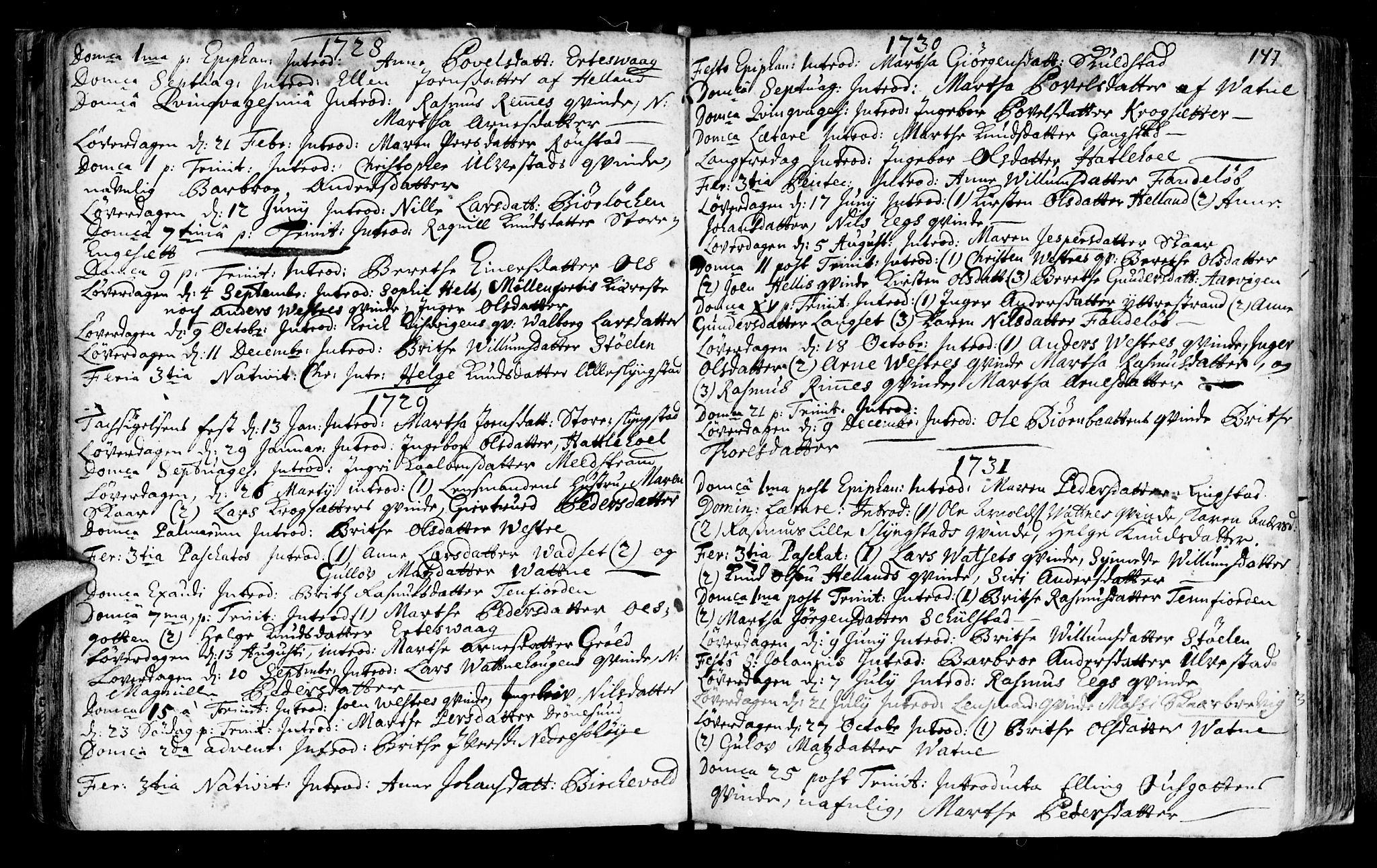 SAT, Ministerialprotokoller, klokkerbøker og fødselsregistre - Møre og Romsdal, 525/L0371: Ministerialbok nr. 525A01, 1699-1777, s. 147