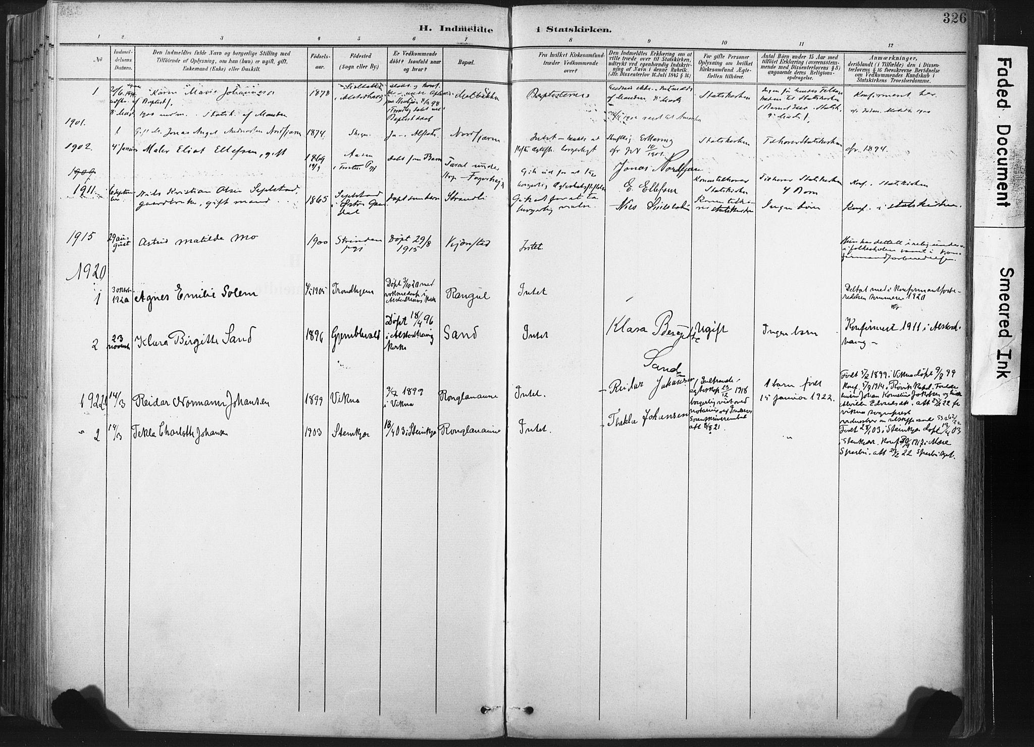 SAT, Ministerialprotokoller, klokkerbøker og fødselsregistre - Nord-Trøndelag, 717/L0162: Ministerialbok nr. 717A12, 1898-1923, s. 326