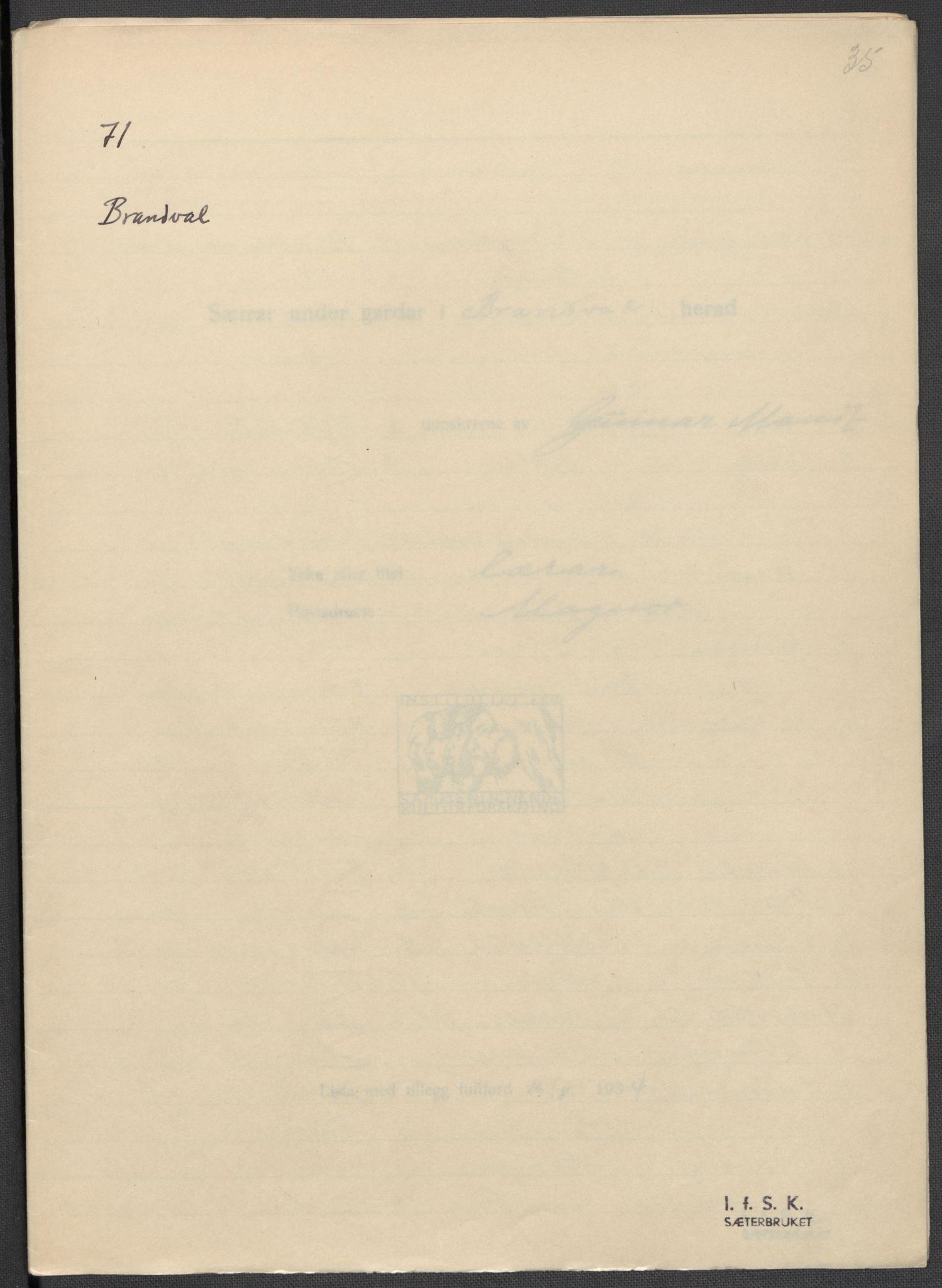 RA, Instituttet for sammenlignende kulturforskning, F/Fc/L0003: Eske B3:, 1934-1935, s. 35
