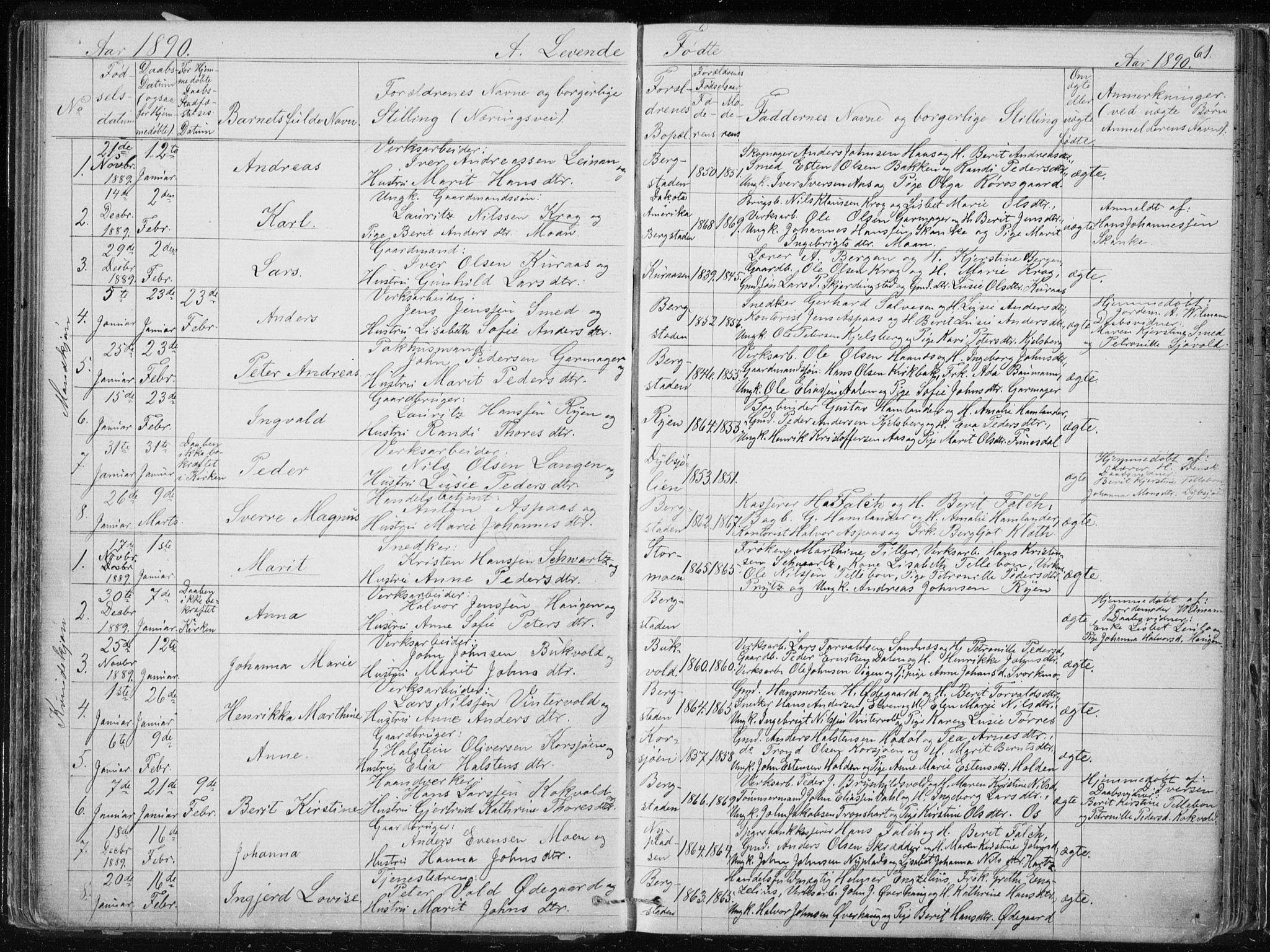 SAT, Ministerialprotokoller, klokkerbøker og fødselsregistre - Sør-Trøndelag, 681/L0940: Klokkerbok nr. 681C04, 1880-1895, s. 61
