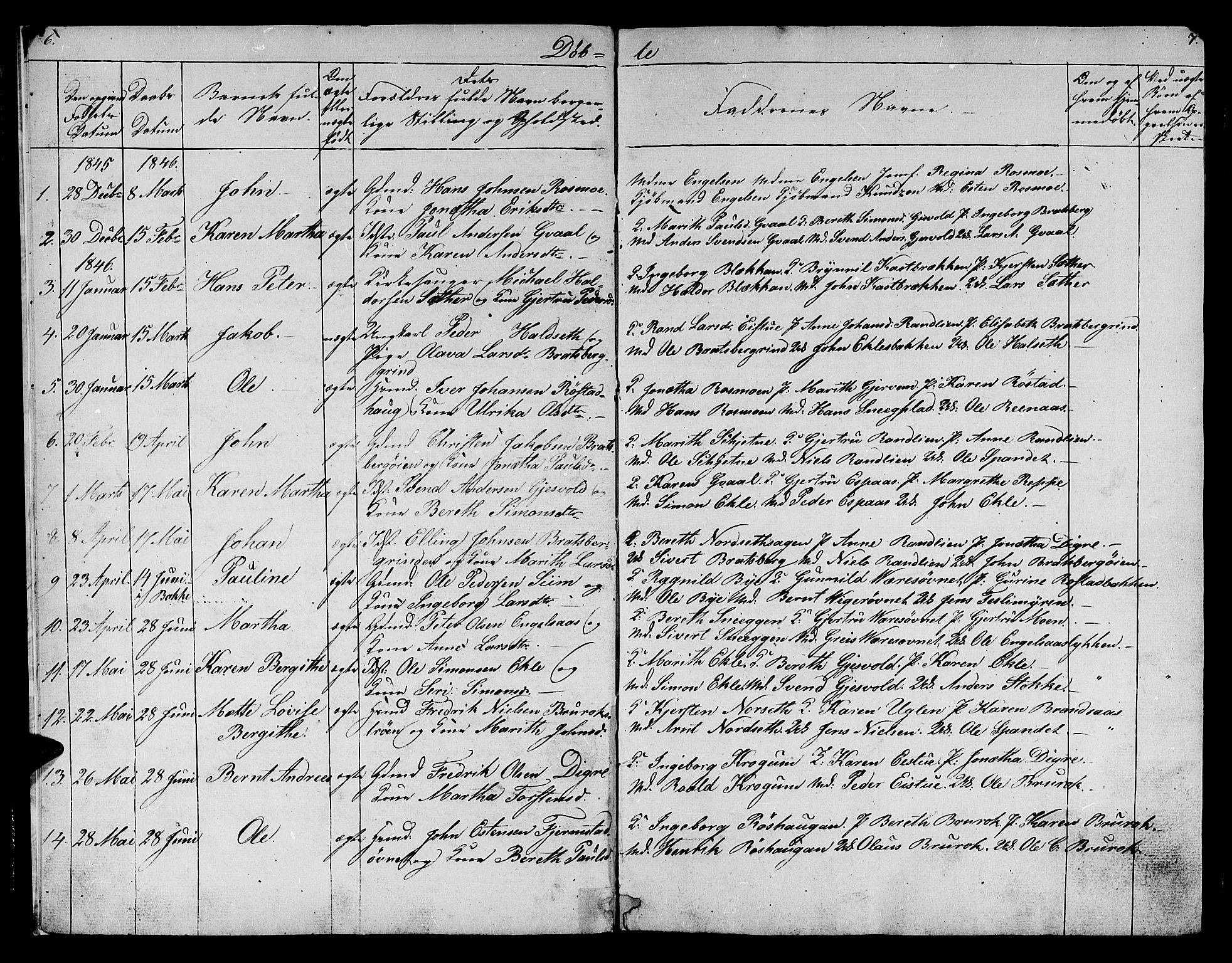SAT, Ministerialprotokoller, klokkerbøker og fødselsregistre - Sør-Trøndelag, 608/L0339: Klokkerbok nr. 608C05, 1844-1863, s. 6-7