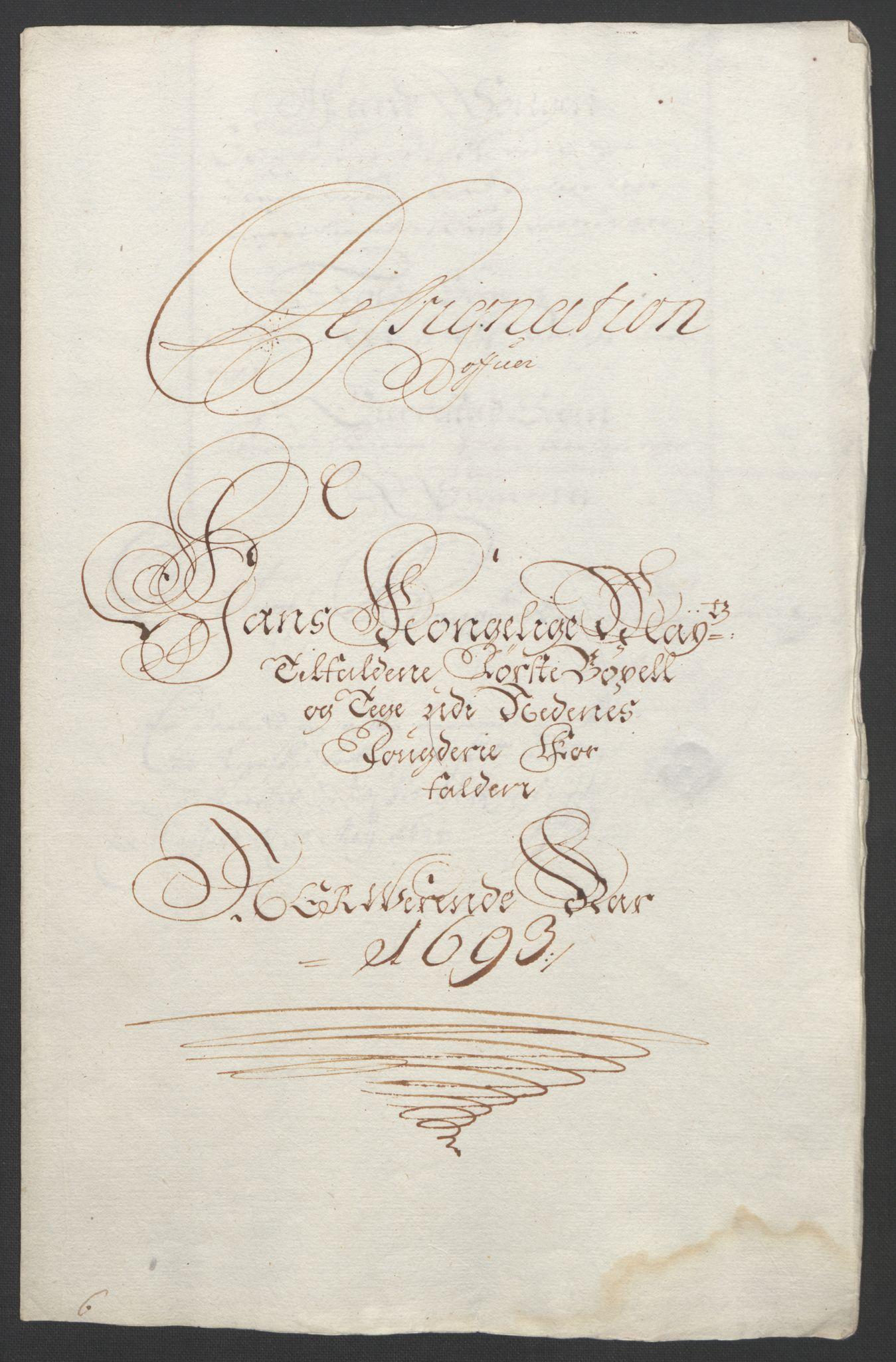 RA, Rentekammeret inntil 1814, Reviderte regnskaper, Fogderegnskap, R39/L2312: Fogderegnskap Nedenes, 1693-1695, s. 108