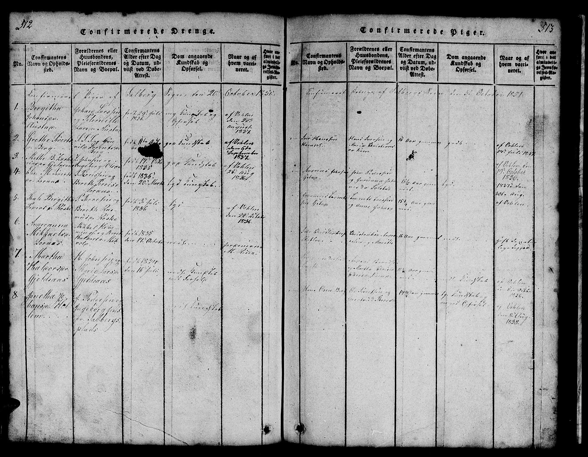 SAT, Ministerialprotokoller, klokkerbøker og fødselsregistre - Nord-Trøndelag, 731/L0310: Klokkerbok nr. 731C01, 1816-1874, s. 512-513