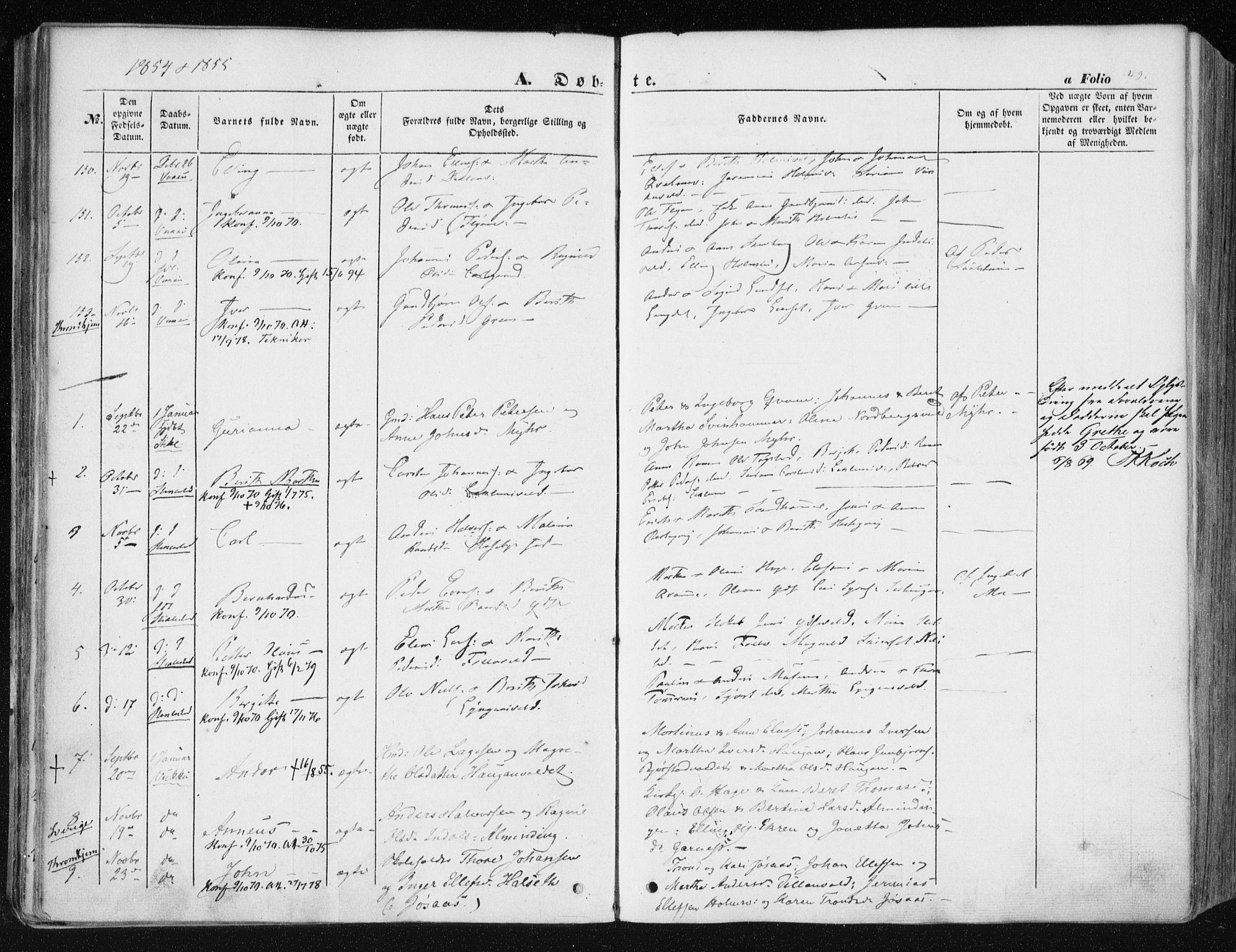 SAT, Ministerialprotokoller, klokkerbøker og fødselsregistre - Nord-Trøndelag, 723/L0240: Ministerialbok nr. 723A09, 1852-1860, s. 40