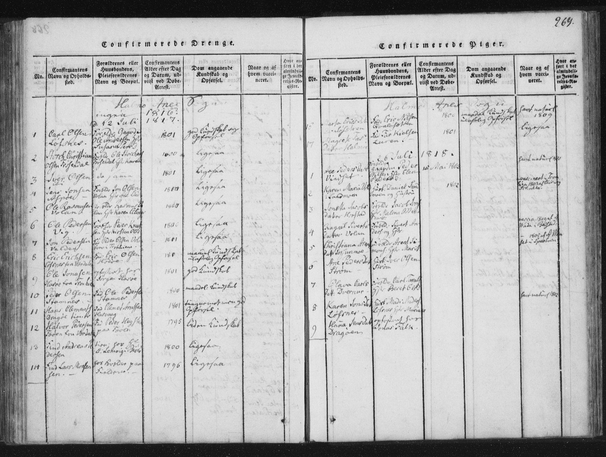 SAT, Ministerialprotokoller, klokkerbøker og fødselsregistre - Nord-Trøndelag, 773/L0609: Ministerialbok nr. 773A03 /3, 1815-1830, s. 269