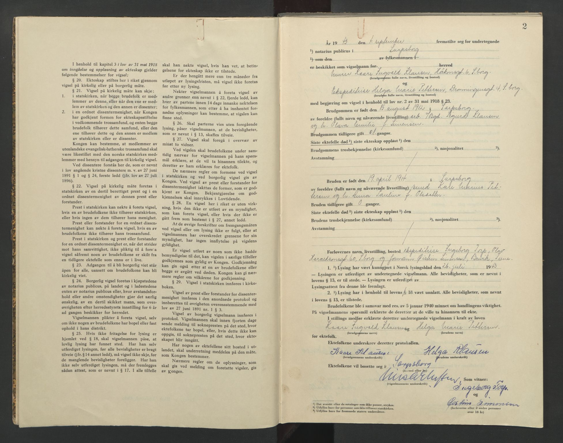 SAO, Sarpsborg byfogd, L/Lb/Lba/L0003: Vigselbok, 1943-1945, s. 2