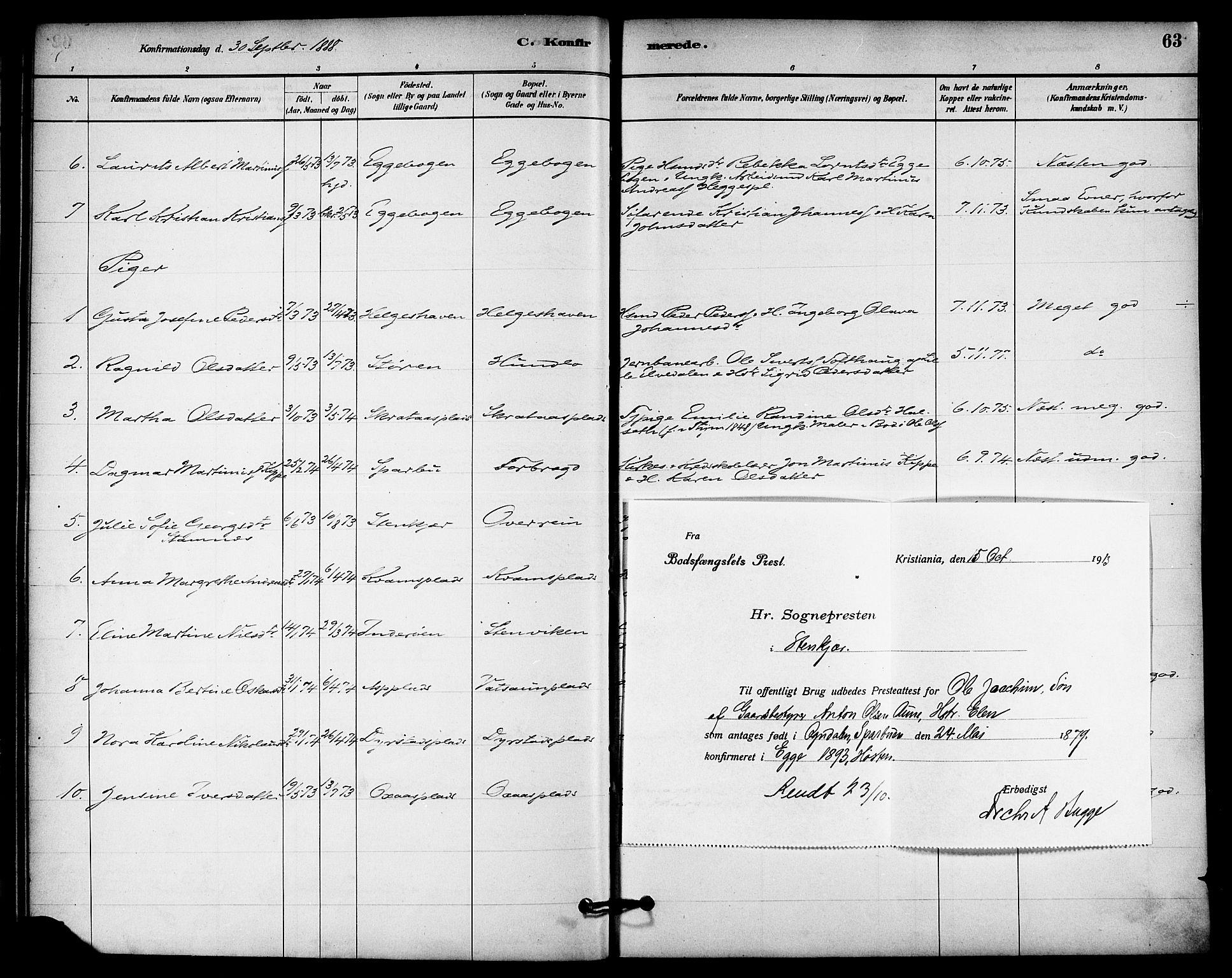 SAT, Ministerialprotokoller, klokkerbøker og fødselsregistre - Nord-Trøndelag, 740/L0378: Ministerialbok nr. 740A01, 1881-1895, s. 63
