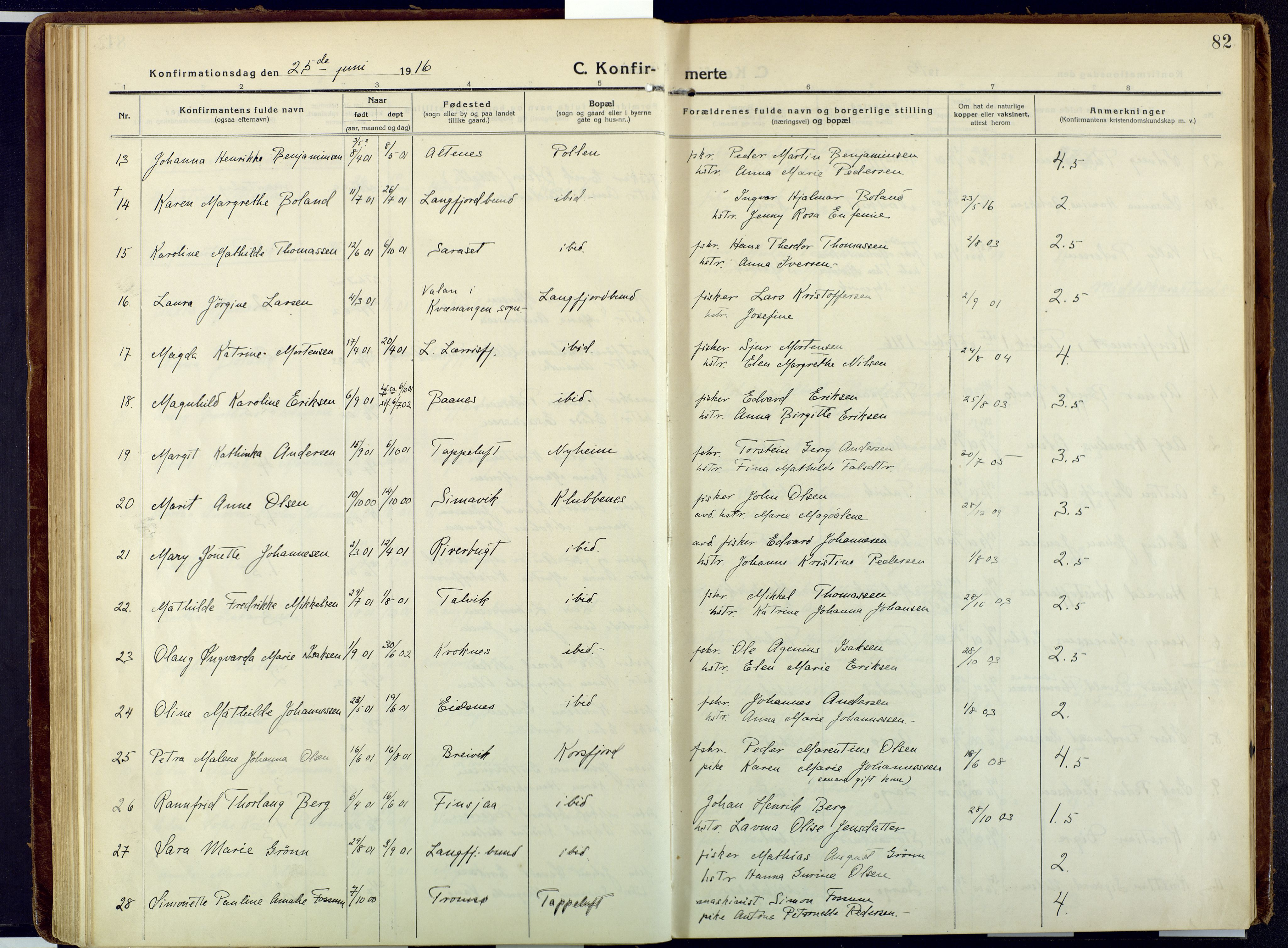 SATØ, Talvik sokneprestkontor, H/Ha/L0018kirke: Ministerialbok nr. 18, 1915-1924, s. 82