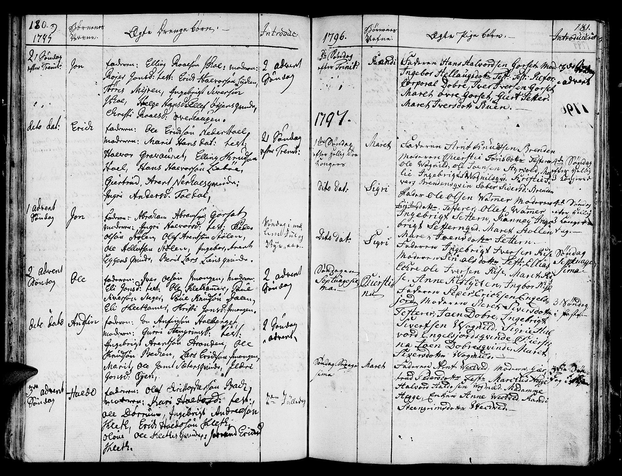 SAT, Ministerialprotokoller, klokkerbøker og fødselsregistre - Sør-Trøndelag, 678/L0893: Ministerialbok nr. 678A03, 1792-1805, s. 180-181