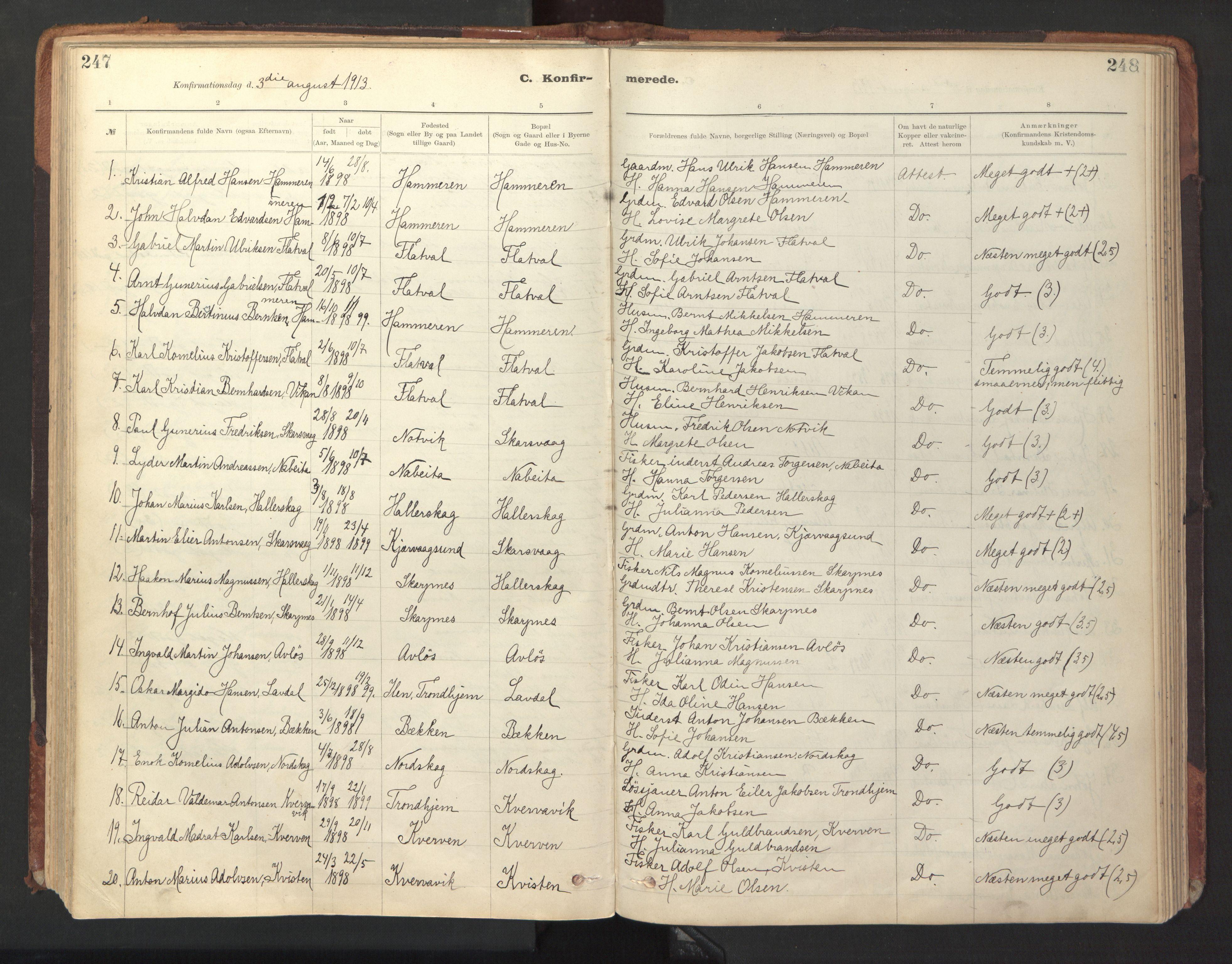 SAT, Ministerialprotokoller, klokkerbøker og fødselsregistre - Sør-Trøndelag, 641/L0596: Ministerialbok nr. 641A02, 1898-1915, s. 247-248