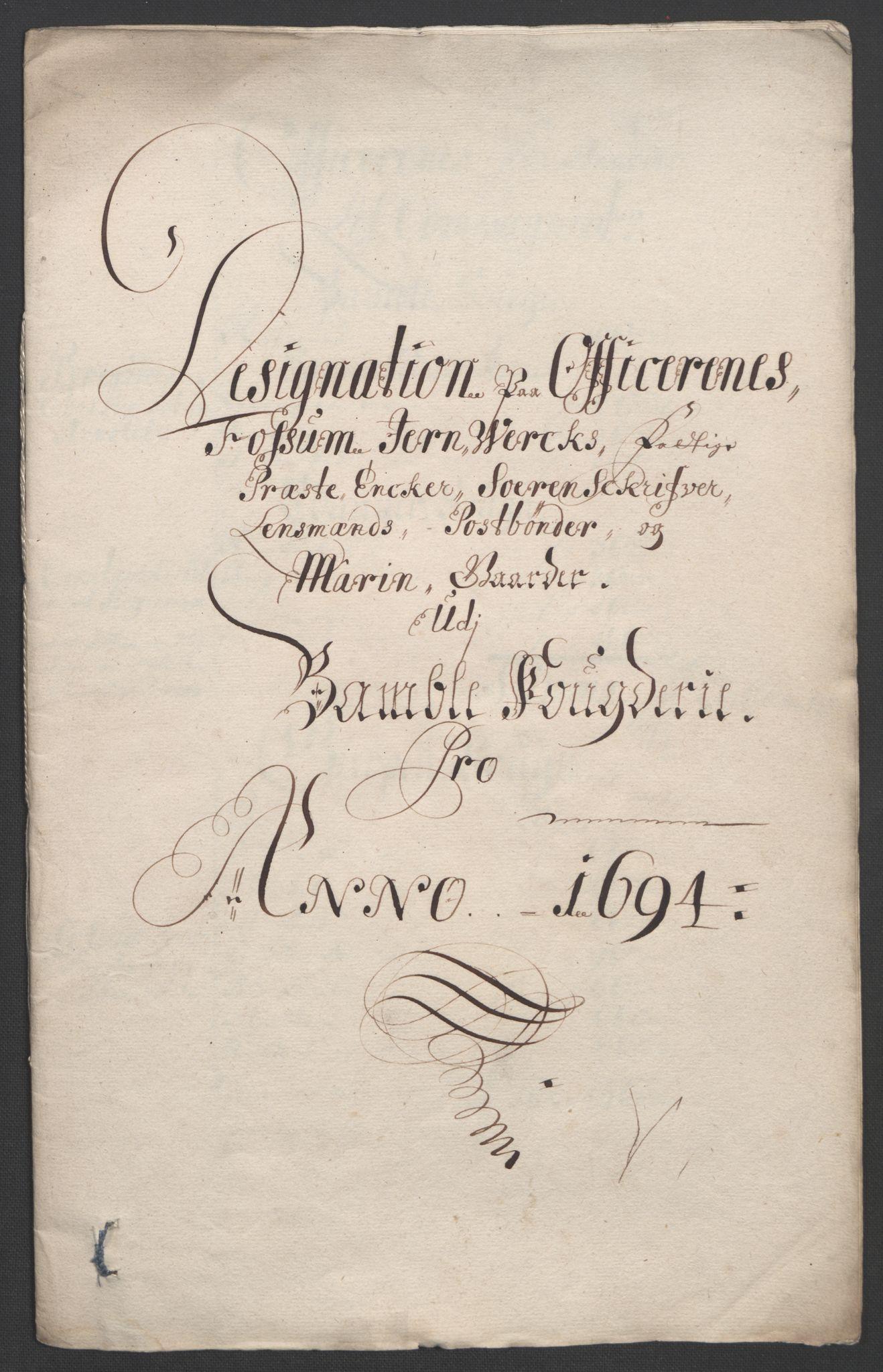 RA, Rentekammeret inntil 1814, Reviderte regnskaper, Fogderegnskap, R36/L2092: Fogderegnskap Øvre og Nedre Telemark og Bamble, 1694, s. 258