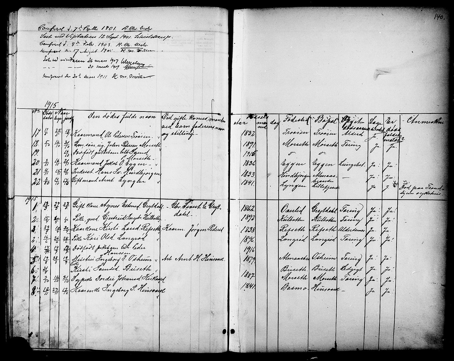 SAT, Ministerialprotokoller, klokkerbøker og fødselsregistre - Sør-Trøndelag, 688/L1029: Klokkerbok nr. 688C04, 1899-1915, s. 140