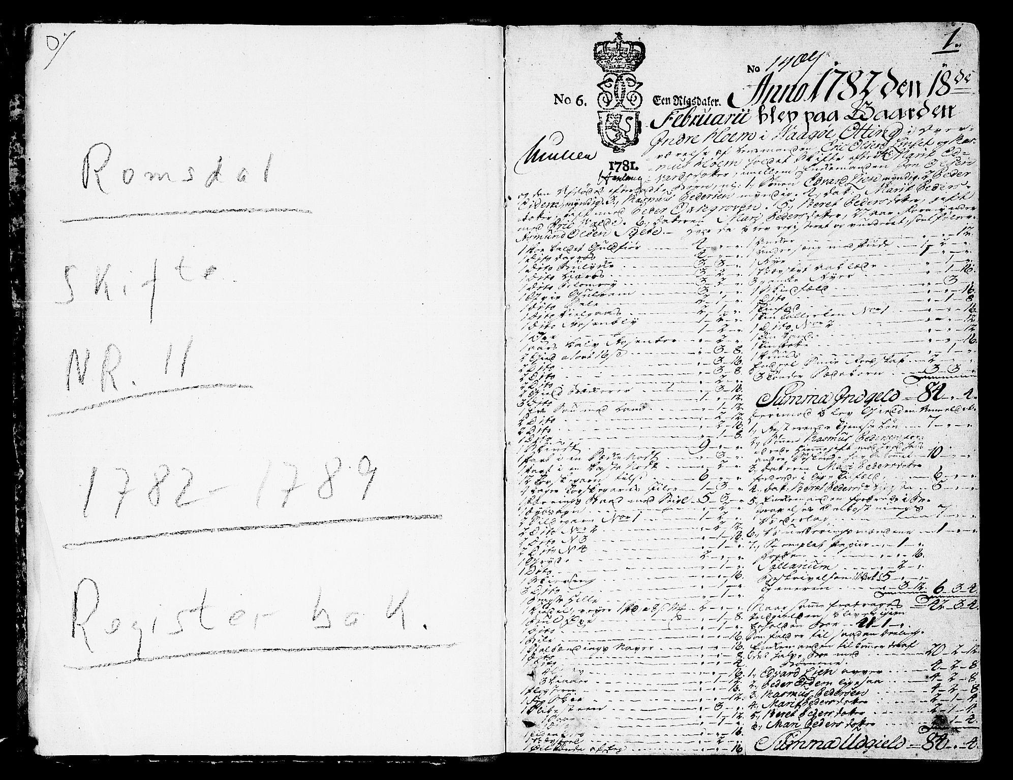 SAT, Romsdal sorenskriveri, 3/3A/L0011: Skifteprotokoll, 1782-1789, s. 0b-1a
