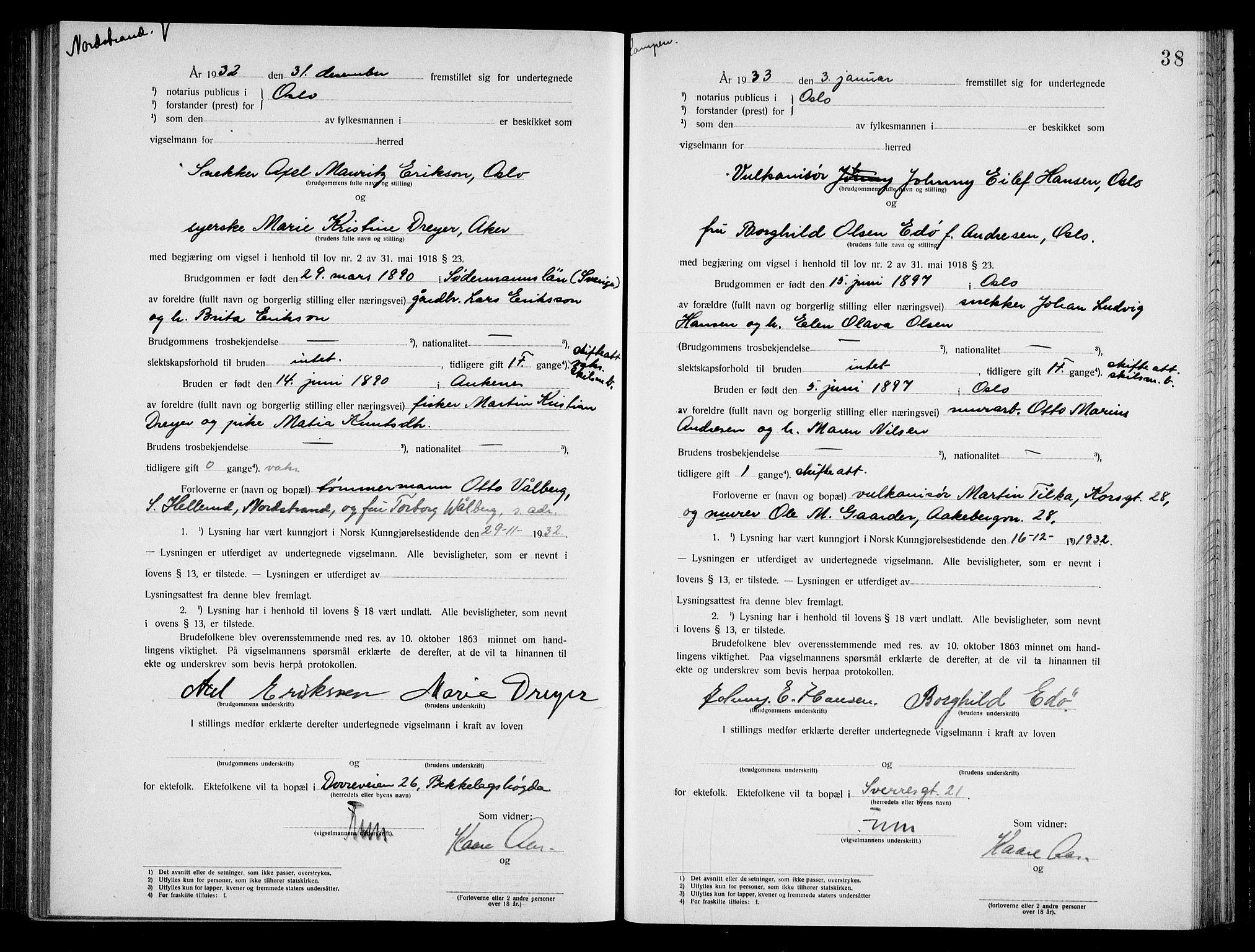 SAO, Oslo byfogd avd. I, L/Lb/Lbb/L0022: Notarialprotokoll, rekke II: Vigsler, 1932-1933, s. 37b-38a