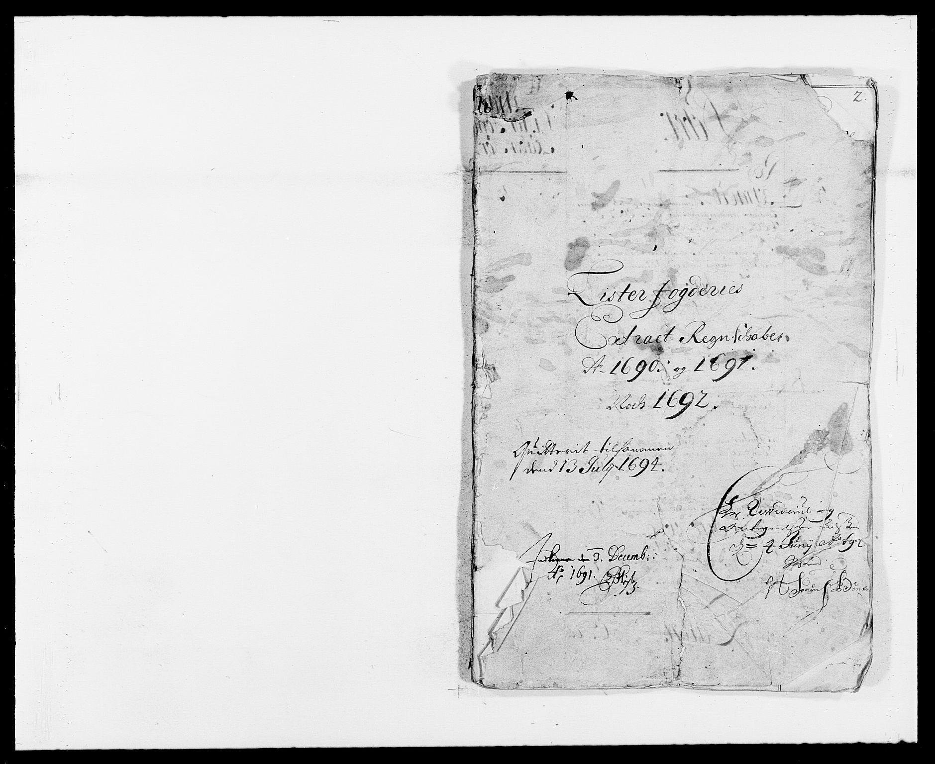 RA, Rentekammeret inntil 1814, Reviderte regnskaper, Fogderegnskap, R41/L2536: Fogderegnskap Lista, 1690-1693, s. 1